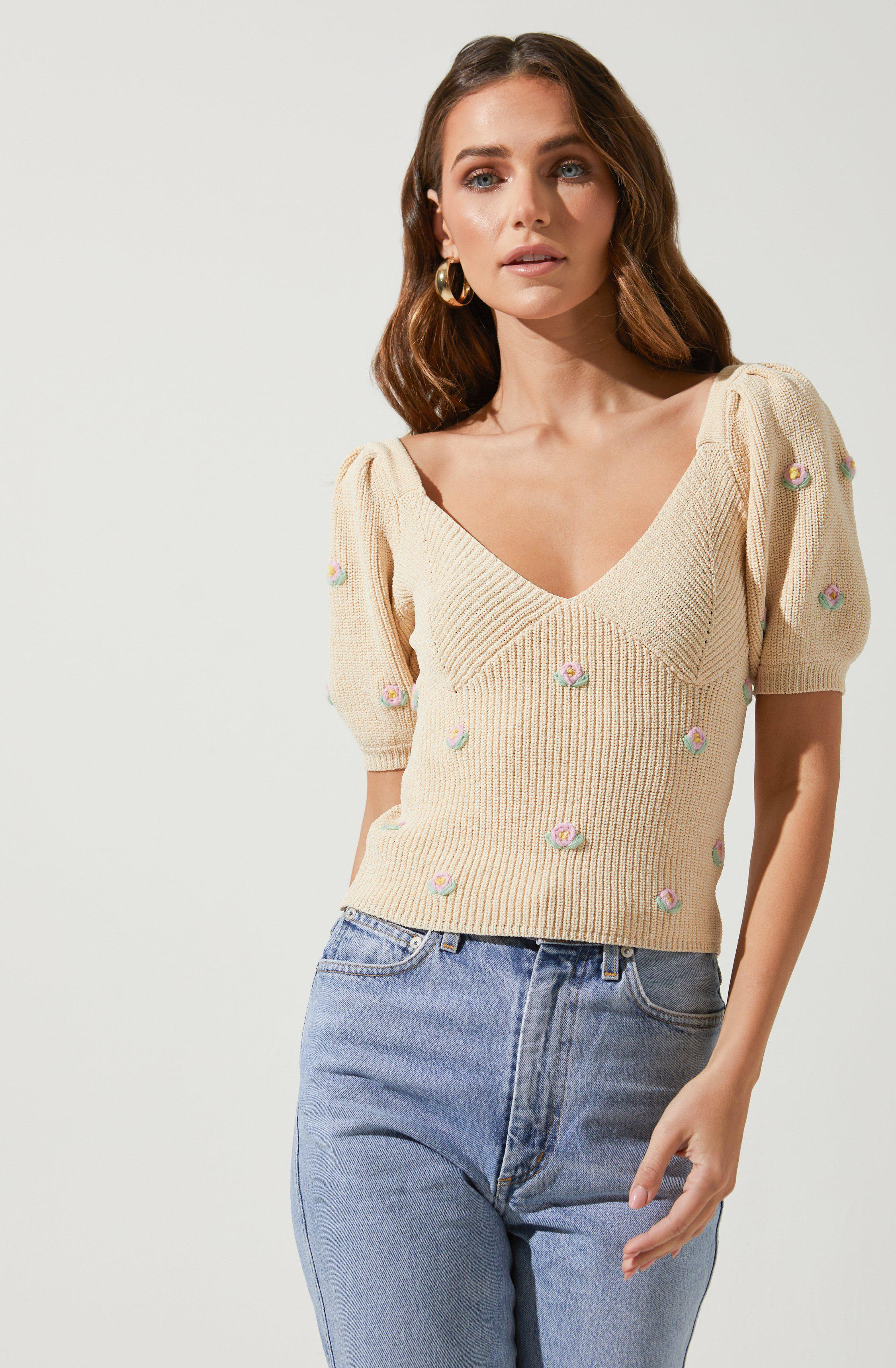 Bria Floral Embroidered Sweater