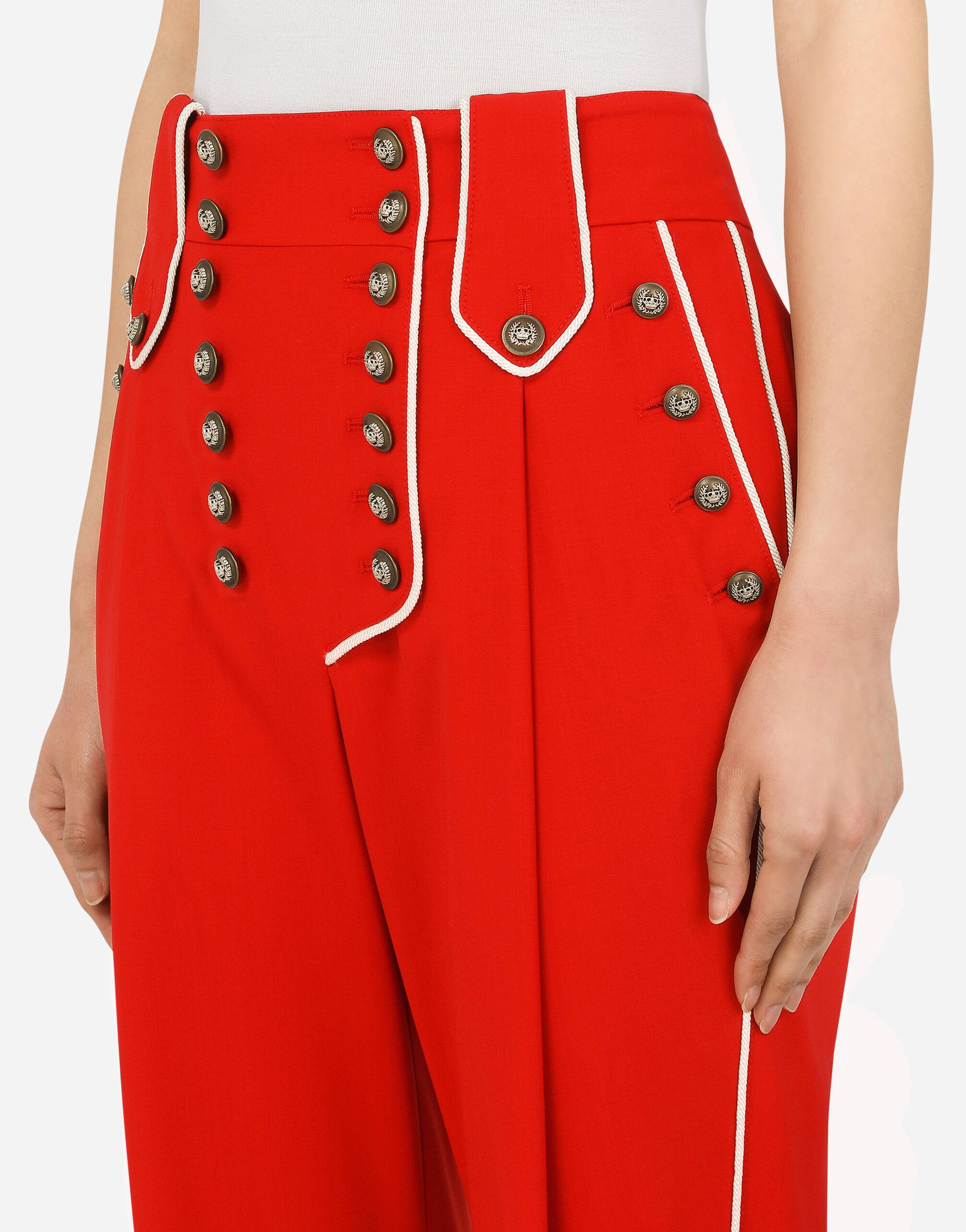 High-waisted woolen pants with heraldic buttons 4