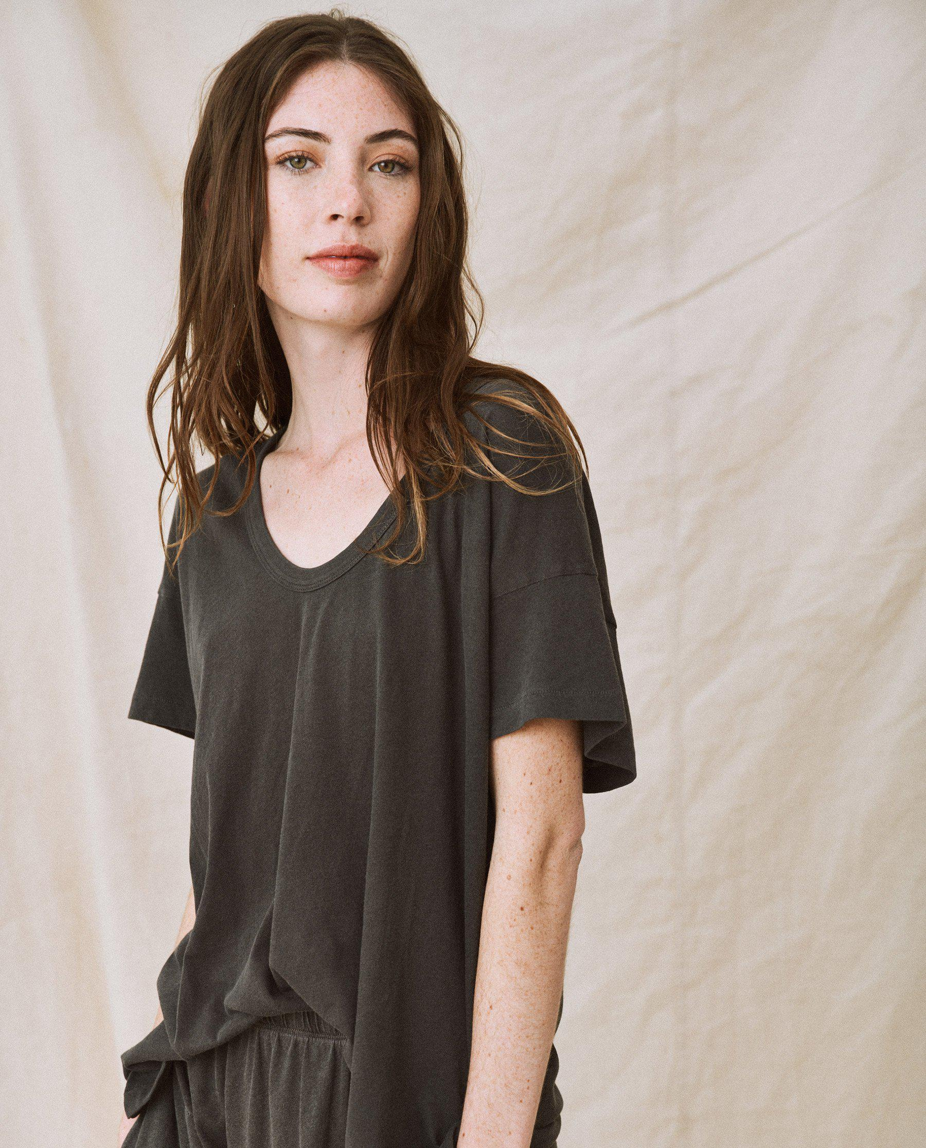The U-Neck Tee. Solid -- Washed Black 3