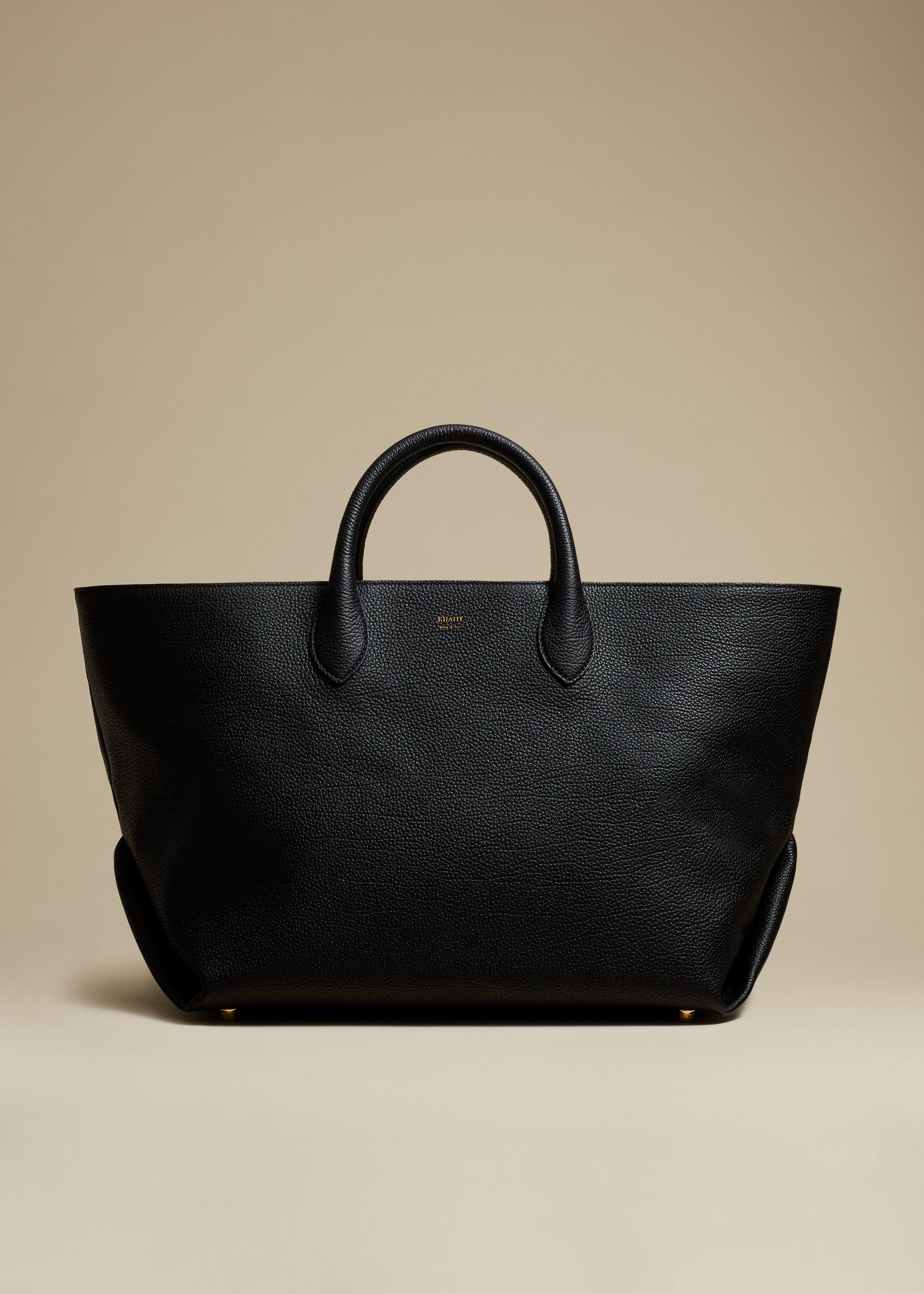 The Medium Amelia Tote in Black Grained Leather