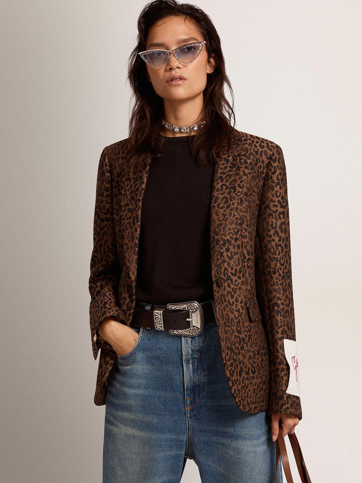 Golden Collection single-breasted blazer in wool with jacquard animal pattern