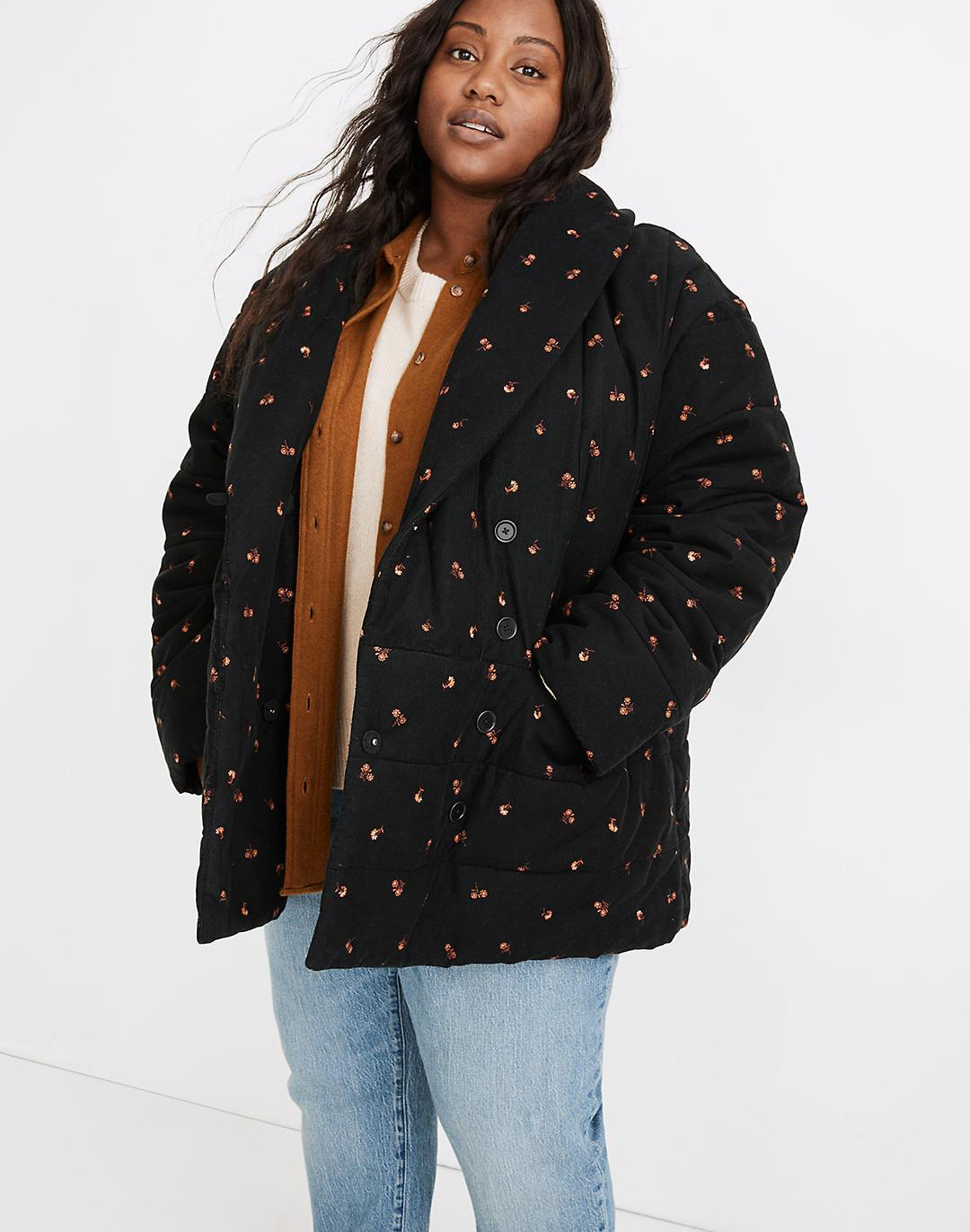 Plus Corduroy Dumont Quilted Jacket in Amie Floral