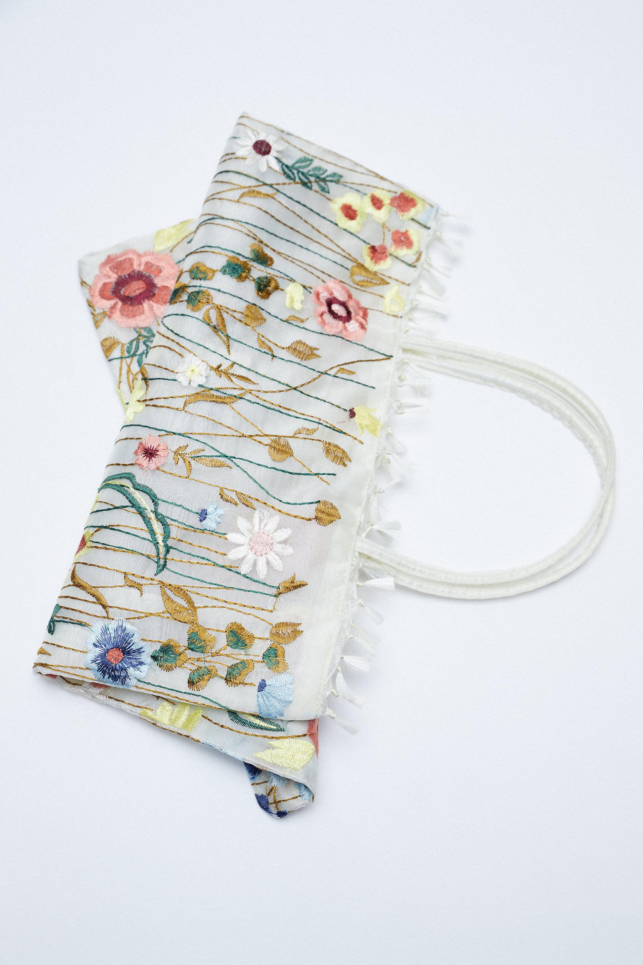 TULLE FLORAL EMBROIDERY TOTE BAG 4