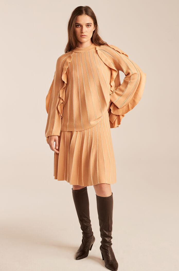 PLEATED STITCHED SKIRT WITH RUFFLES