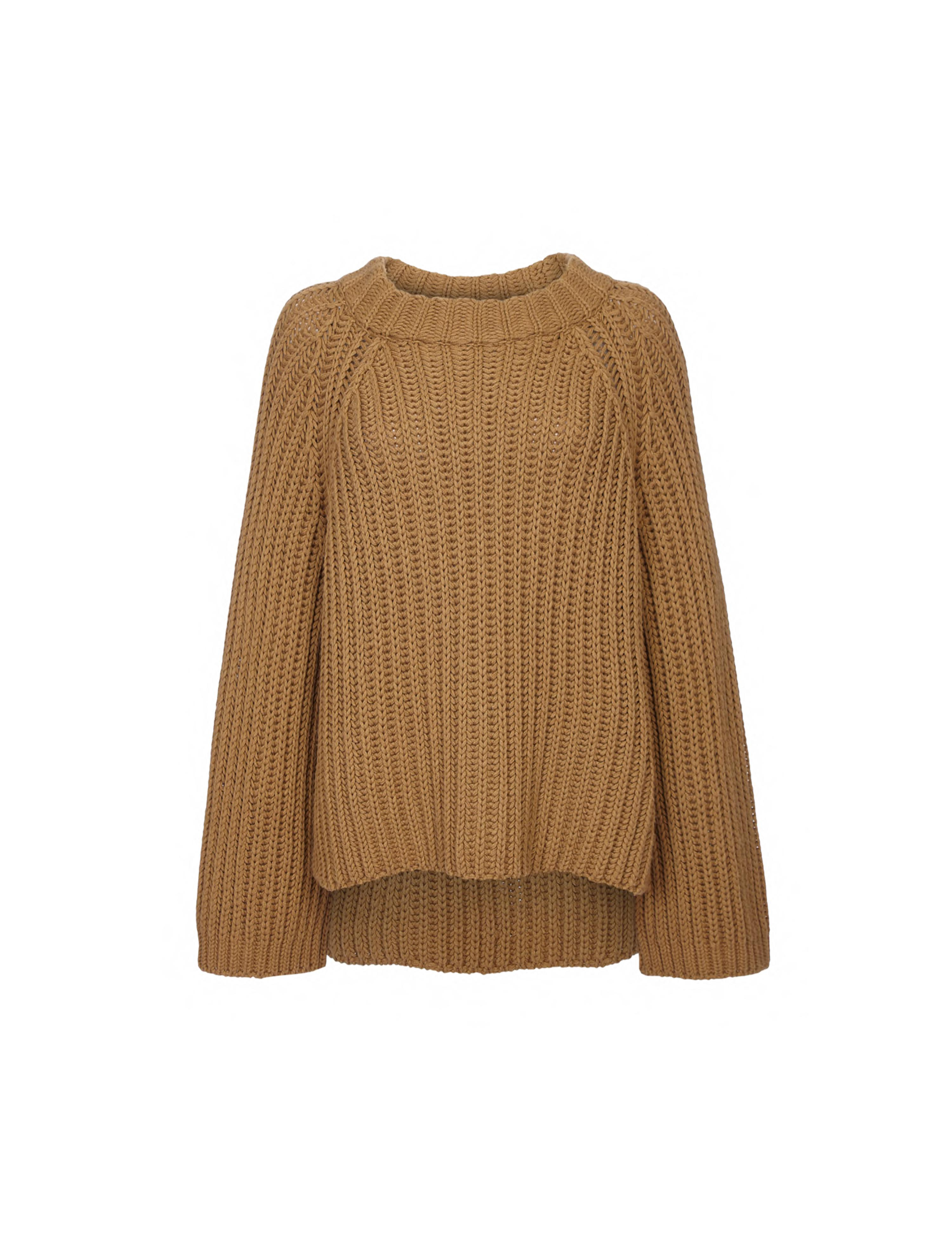 THE STEPH CASHMERE BLEND RIB OPEN NECK SWEATER