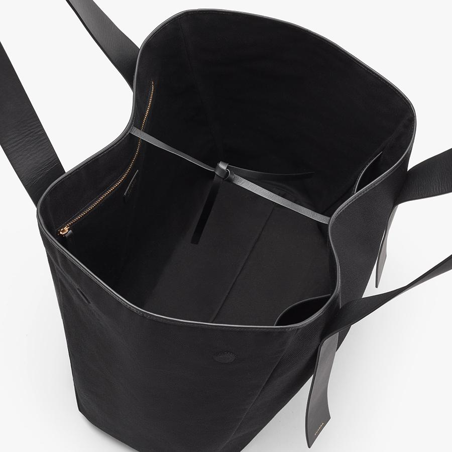 Women's Canvas Tote Bag in Black   Canvas & Smooth Leather by Cuyana 1