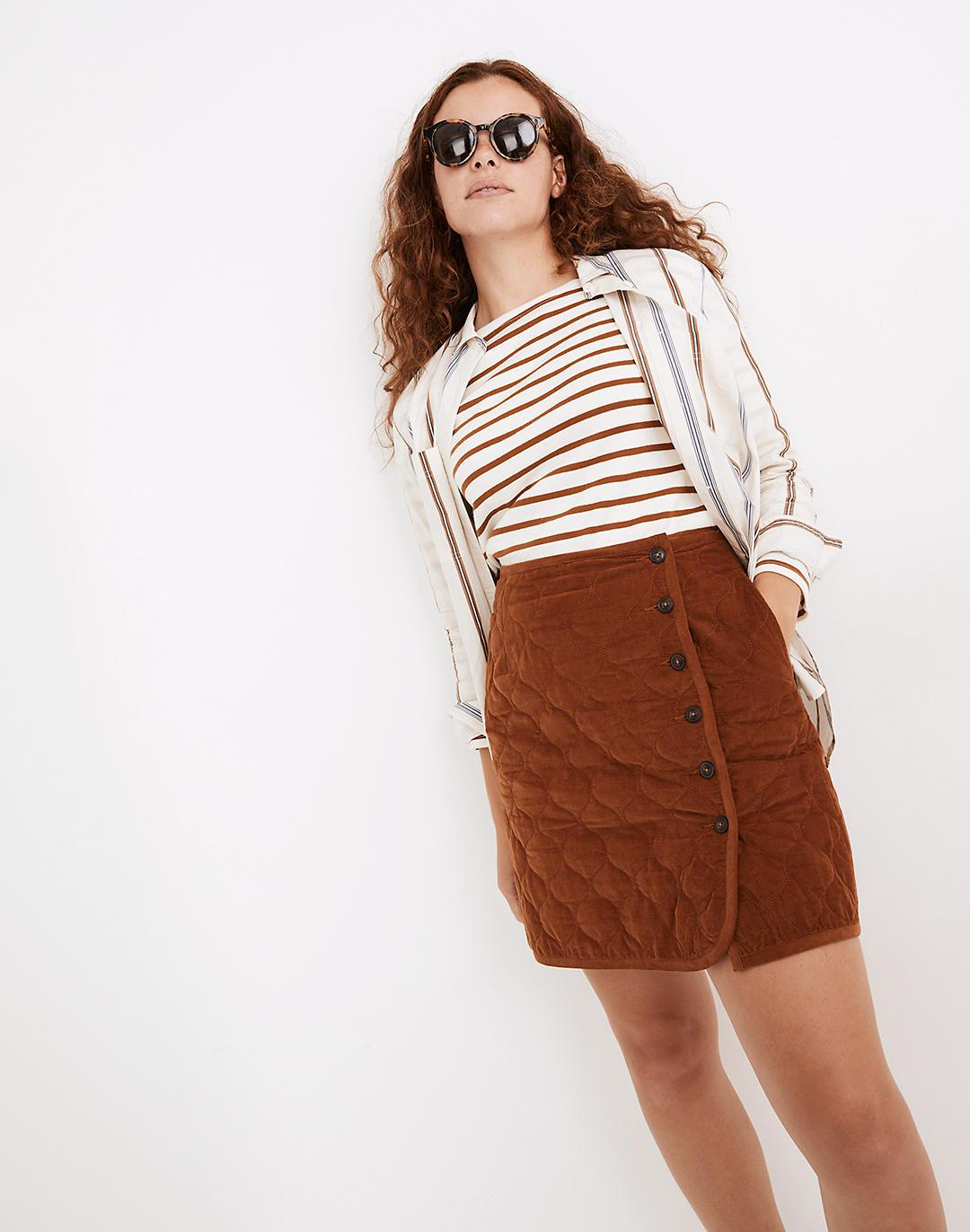 Curvy Corduroy Quilted Mini Skirt