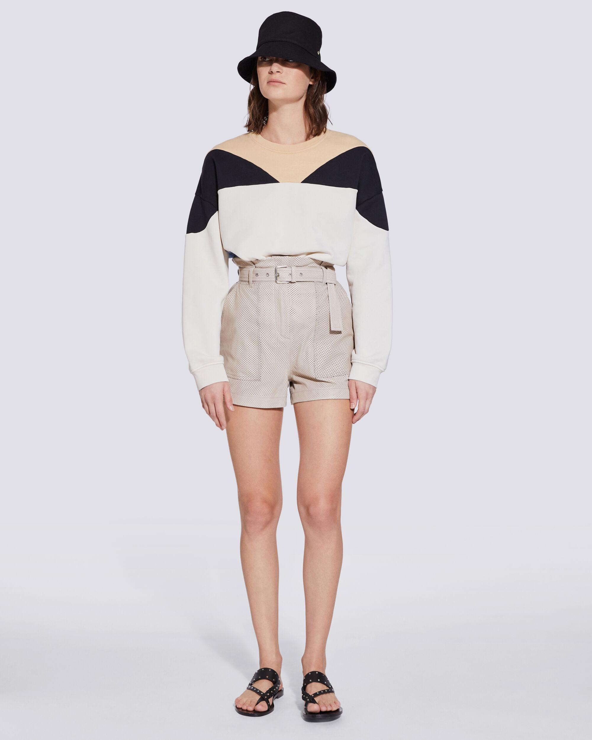 ADHAR HIGH RISE BELTED LEATHER SHORTS