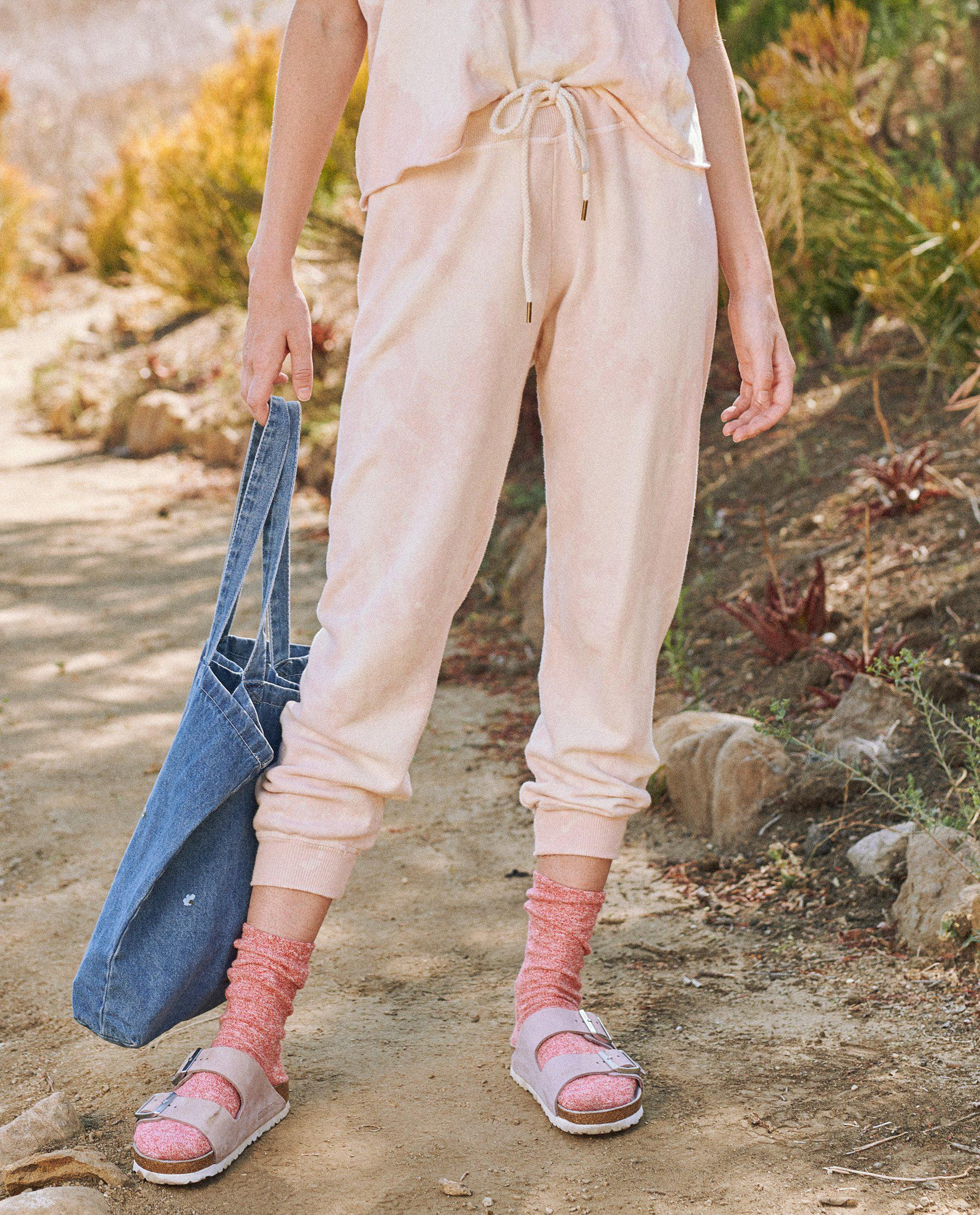 The Cropped Sweatpant. Novelty -- Whisper Pink Cloud Wash