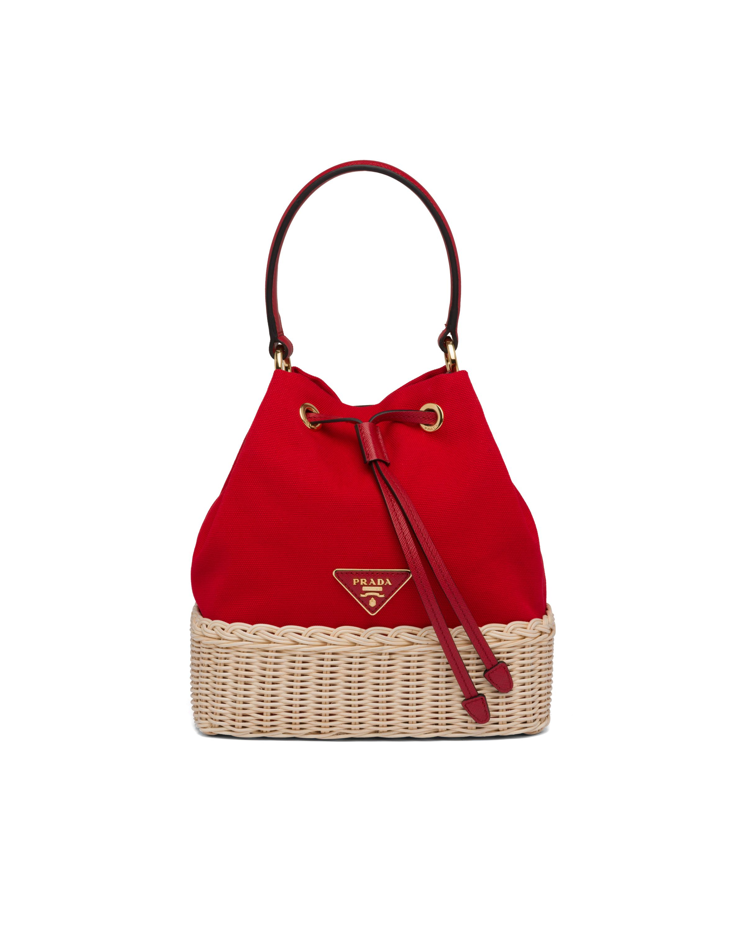 Wicker And Canvas Bucket Bag Women Tan/red 7