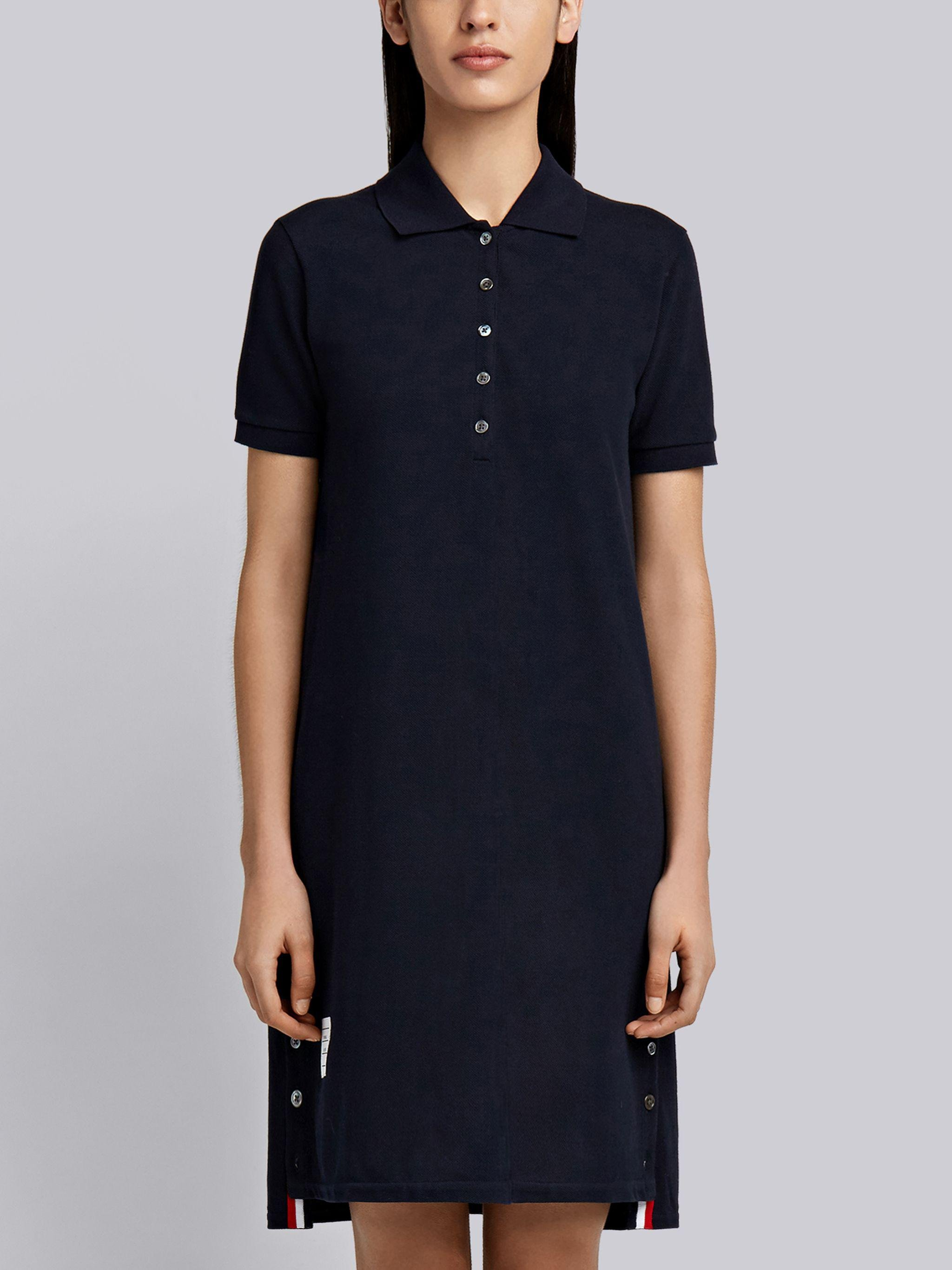 Navy Stripe Cotton Pique Fitted A-line Short Sleeve Polo Shirtdress