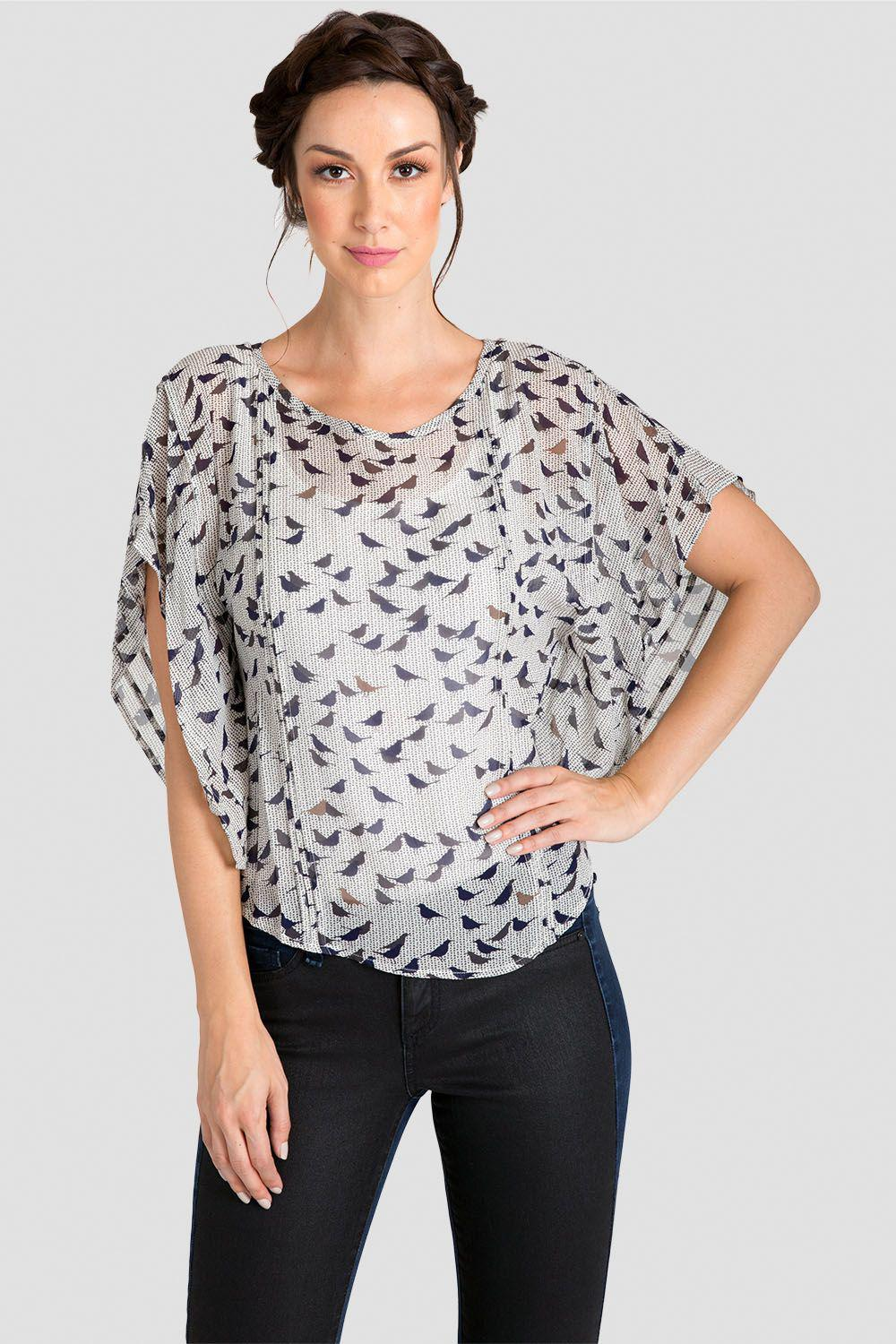 Ava The Birds Printed Pancho Style Beaded Top Silk Blouse