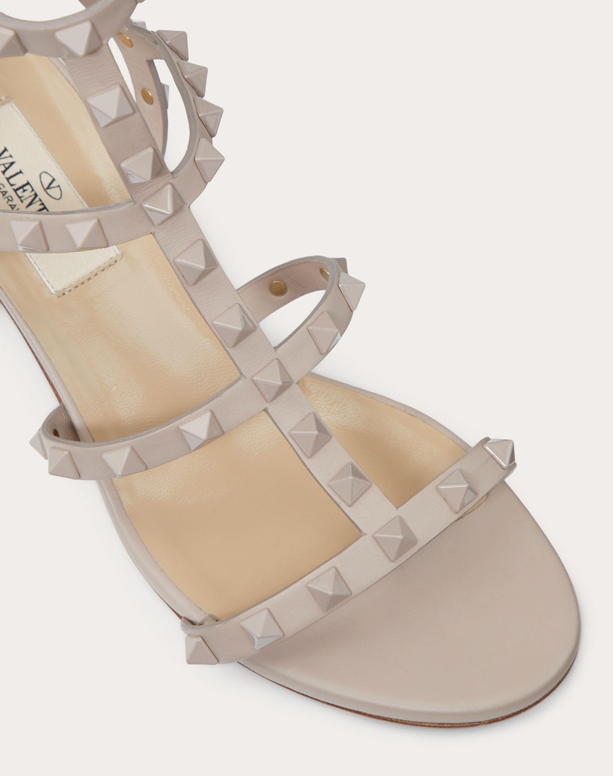 Rockstud Ankle Strap Calfskin Leather Sandal with Tonal Studs 60 mm 4