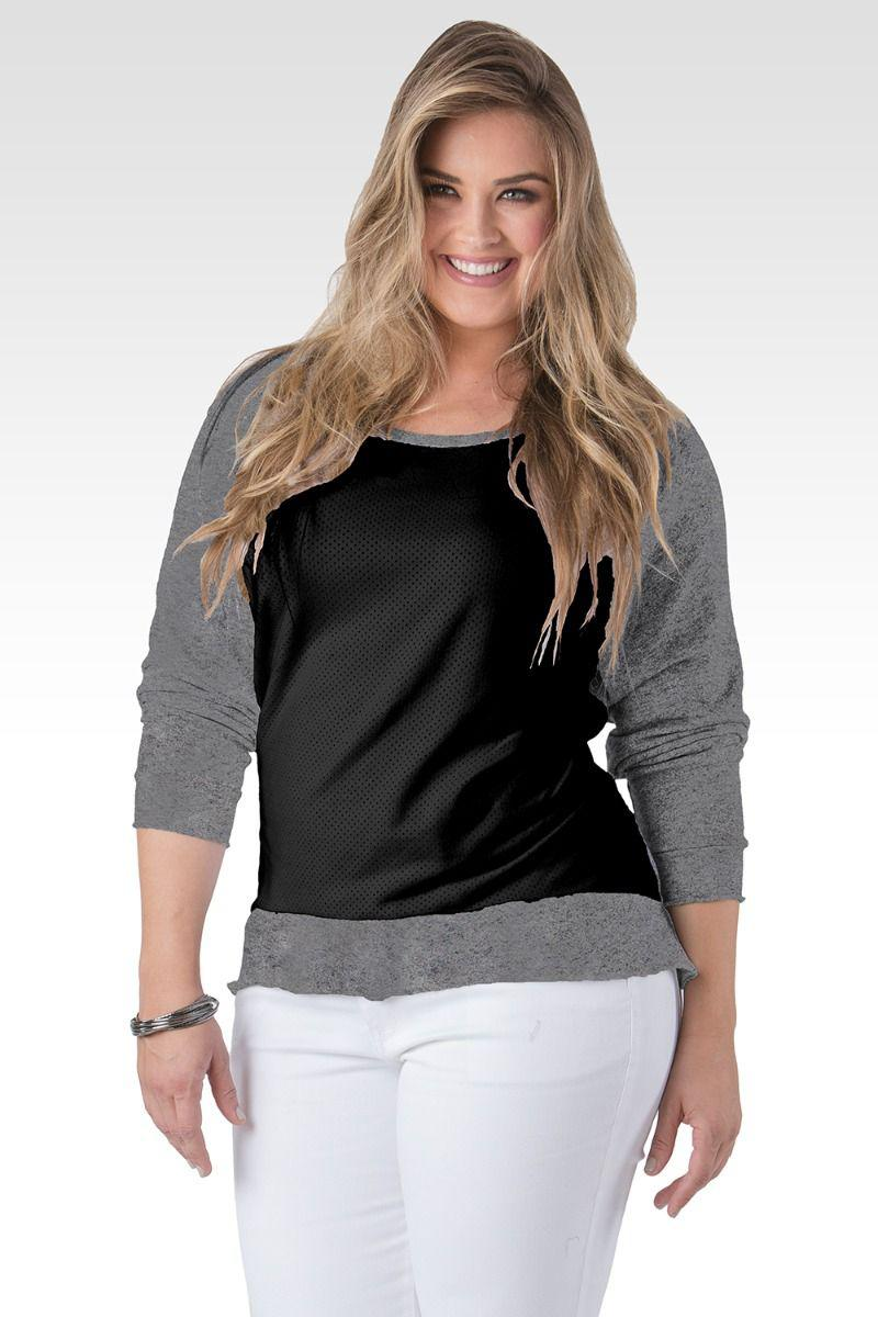 Plus Size Neesa Arm Patch Black With Charcoal French Terry Long Sleeve Mesh Top
