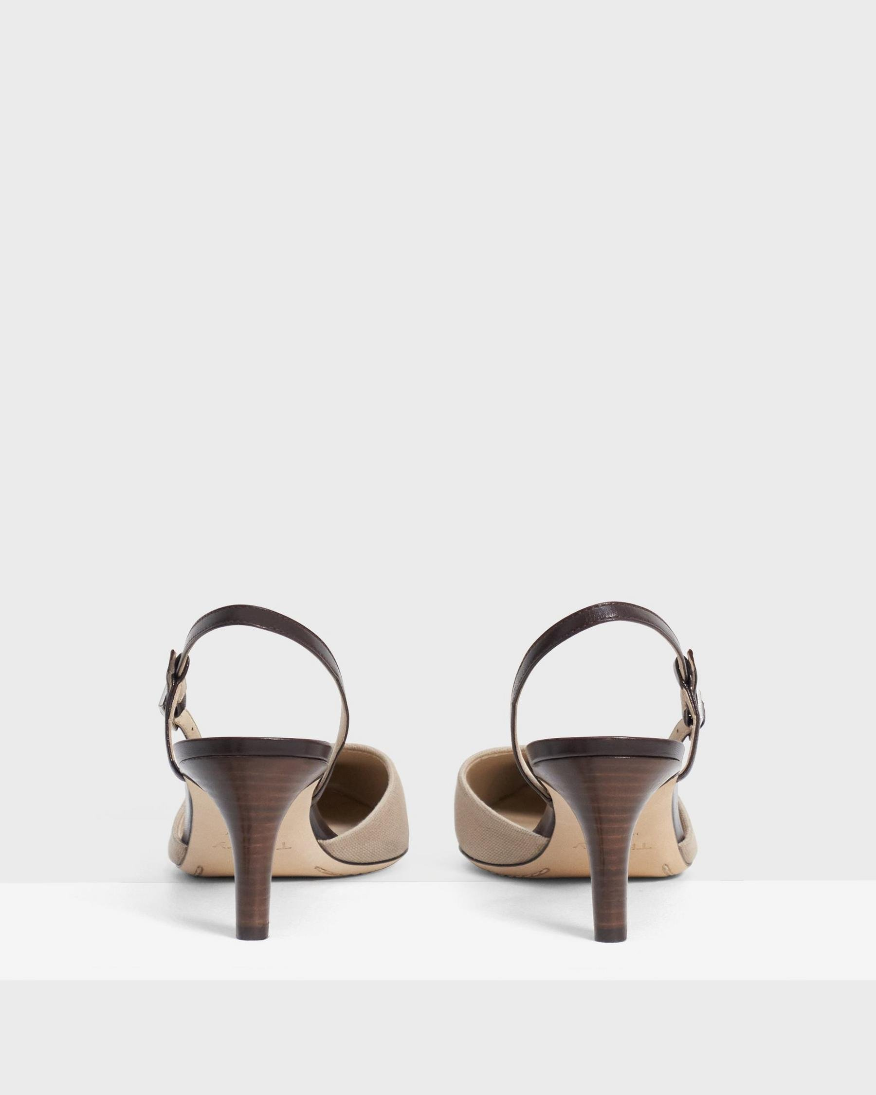 Buckled Mid-Heel Sandal in Cotton Canvas 3