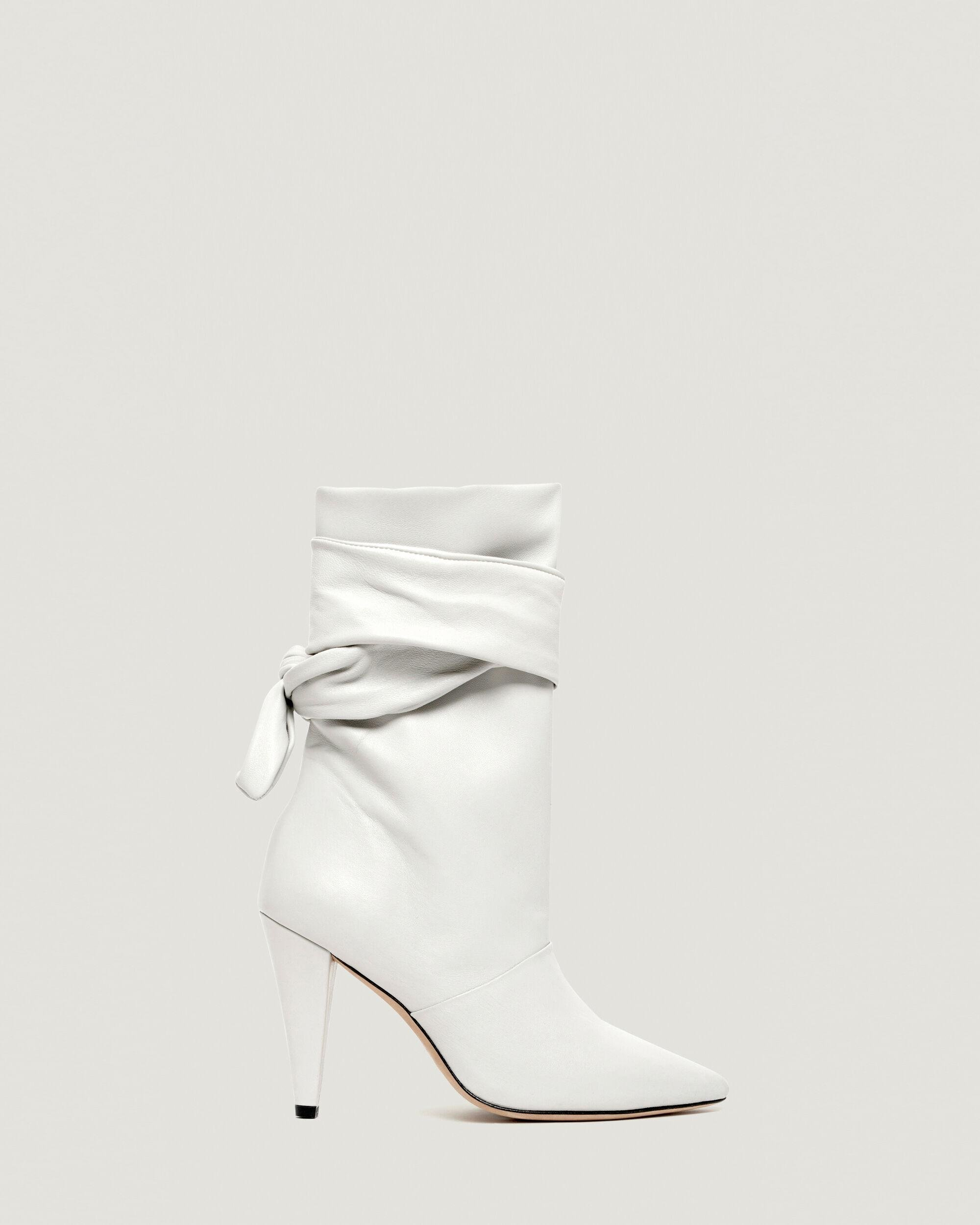 NORI ANKLE TIE POINTED LEATHER BOOTIE