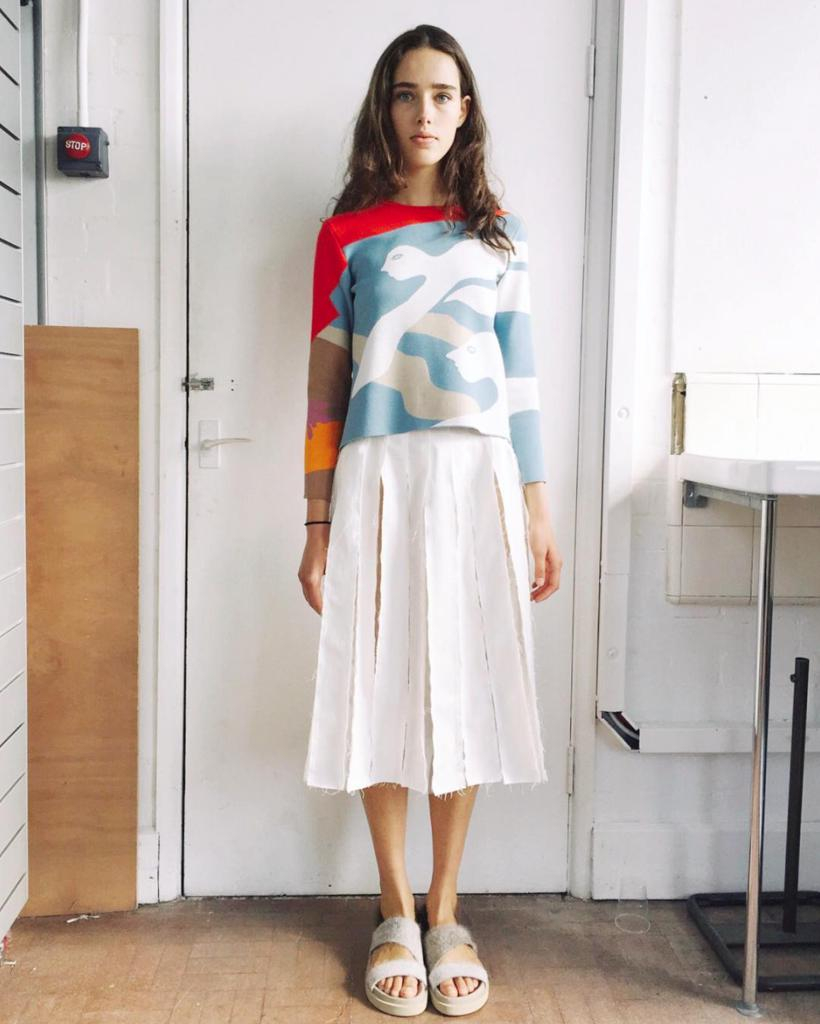 Olivia Pleated Skirt White - SPECIAL PRICE