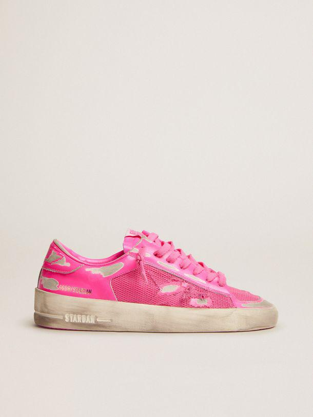 Stardan sneakers in fluorescent pink leather and mesh