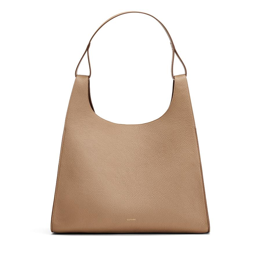 Women's Oversized Double Loop Bag in Cappuccino | Pebbled Leather by Cuyana
