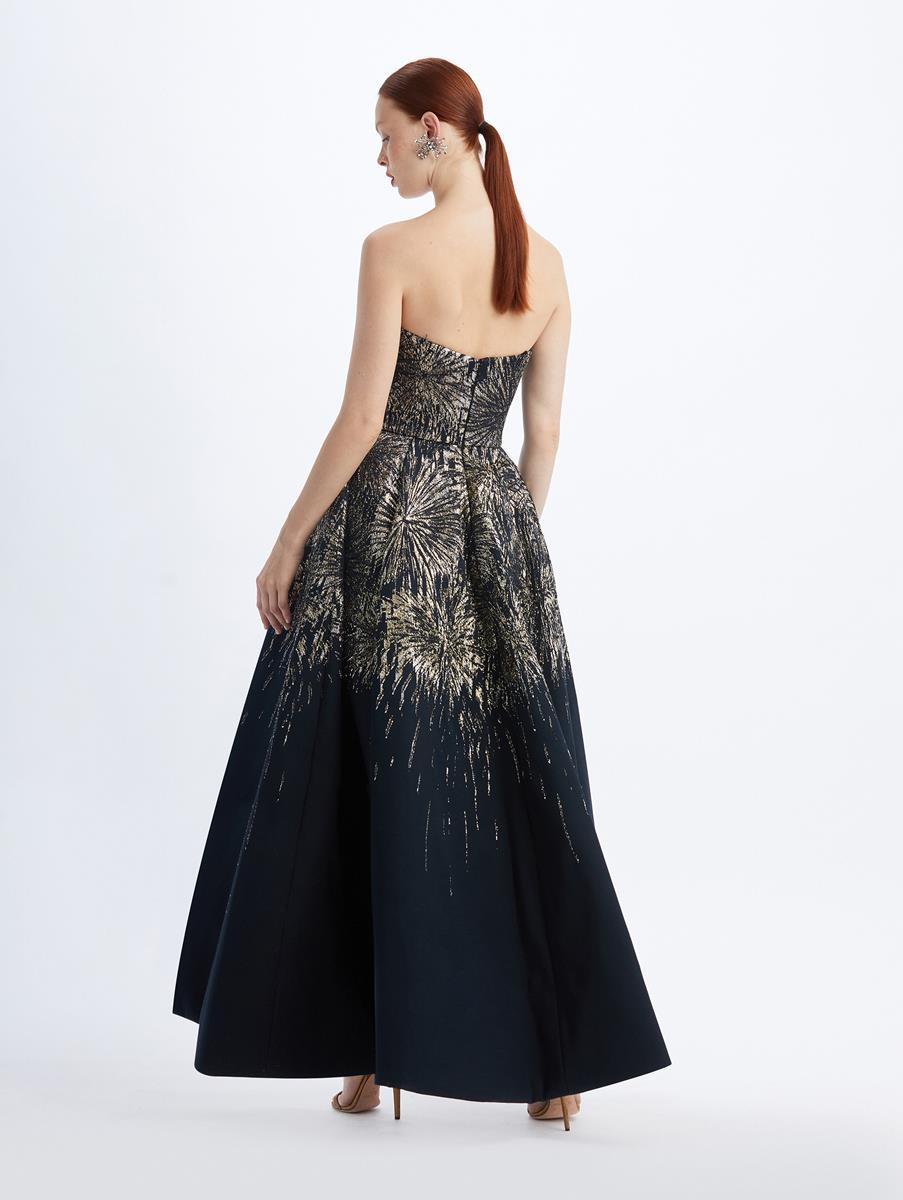 STRAPLESS JACQUARD FIREWORKS GOWN 1