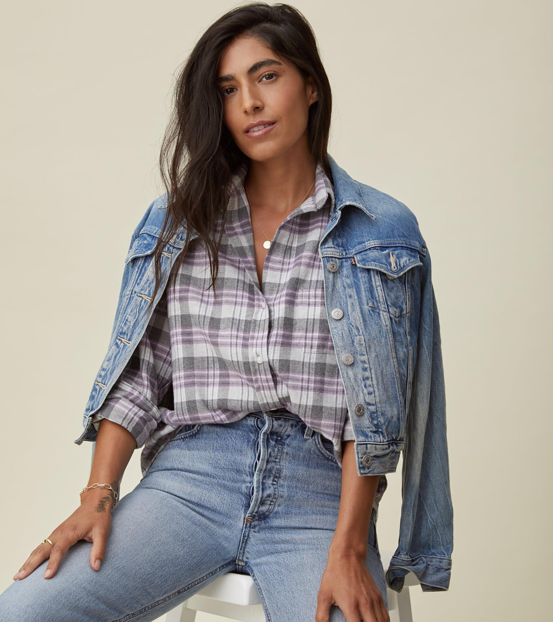 The Hero Button-Up Shirt Gray, White, and Purple Plaid, Plush Flannel