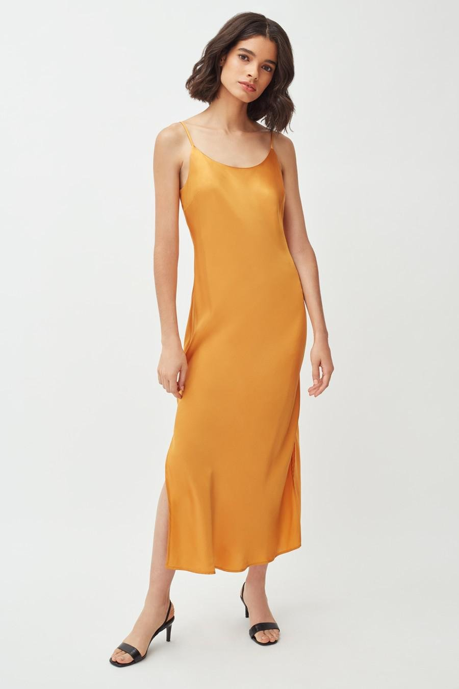 Women's Charmeuse Slip Dress in Citrine | Size: Large | Silk Charmeuse by Cuyana 1