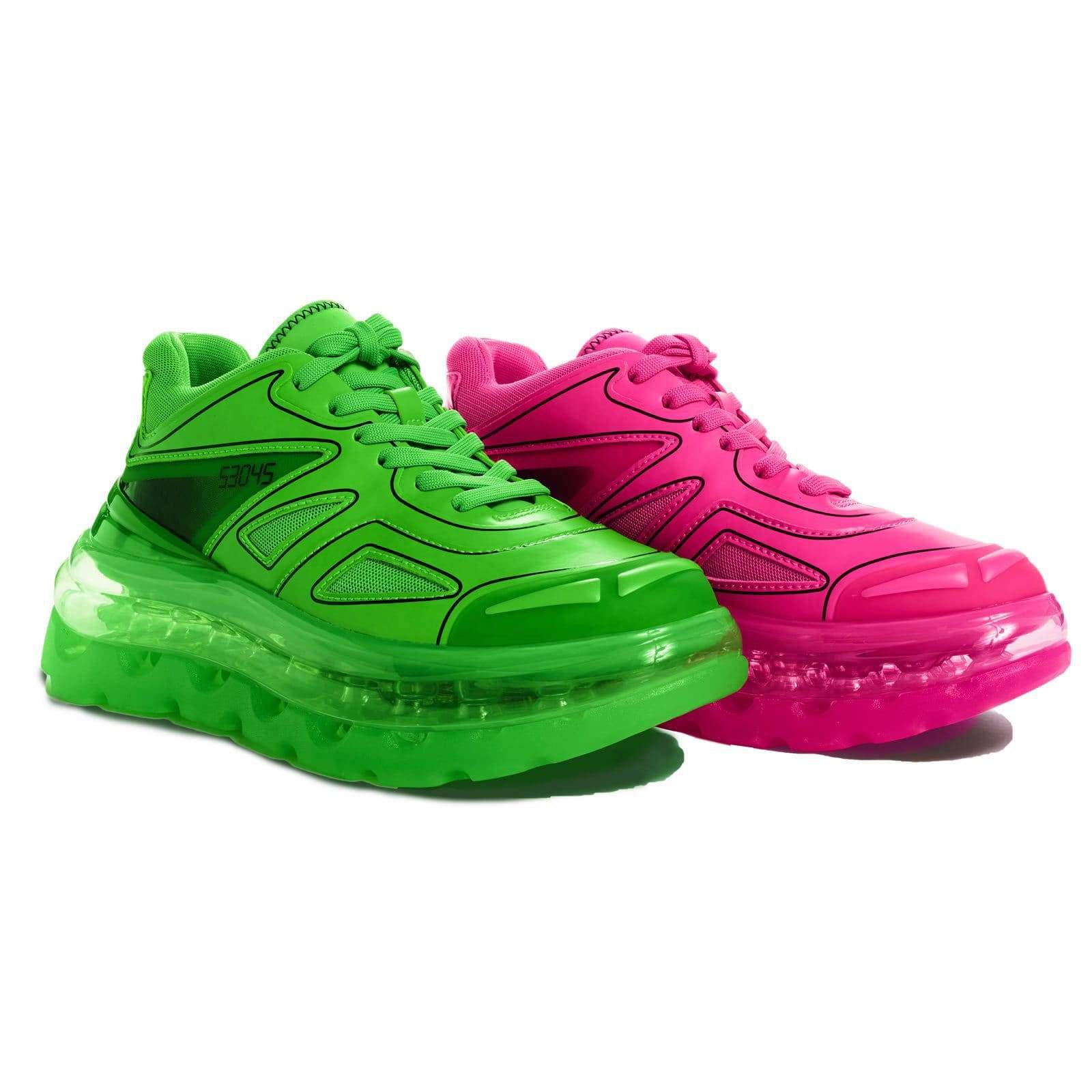 BUMP'AIR NEON MIX LOW TOP Pink & Green Sneakers