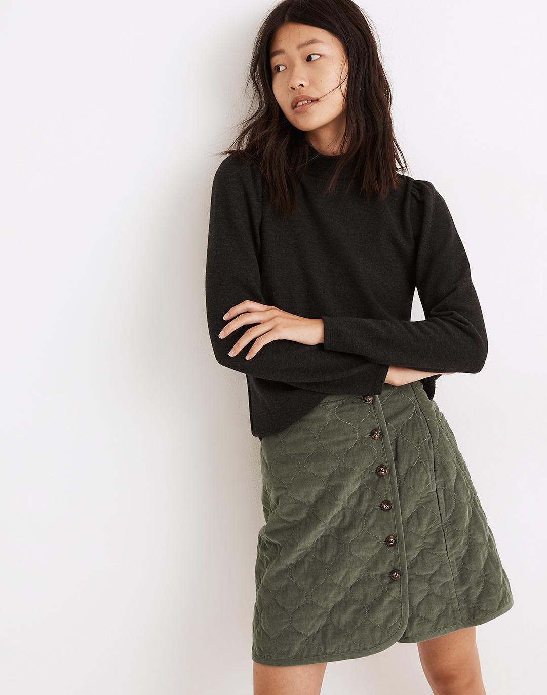 (Re)sourced Plush Mockneck Puff-Sleeve Top