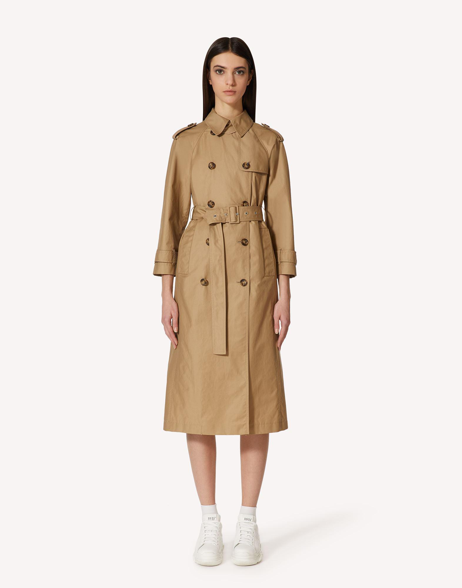 GABARDINE TRENCH COAT WITH BOW DETAILS