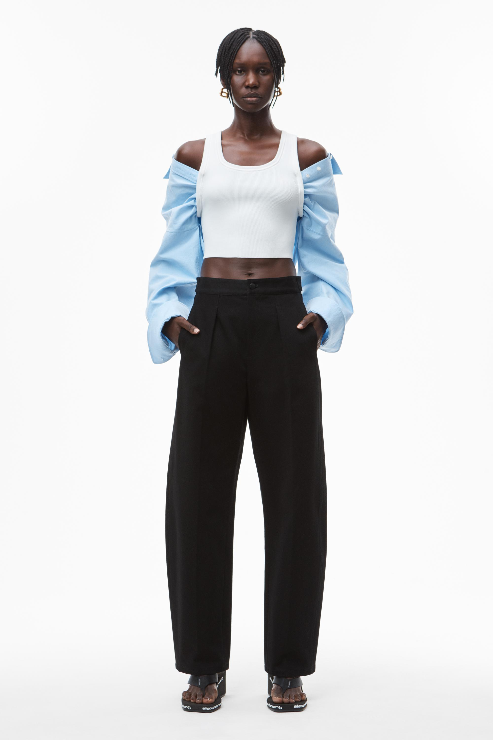 hybrid top in cotton rib and oxford 5