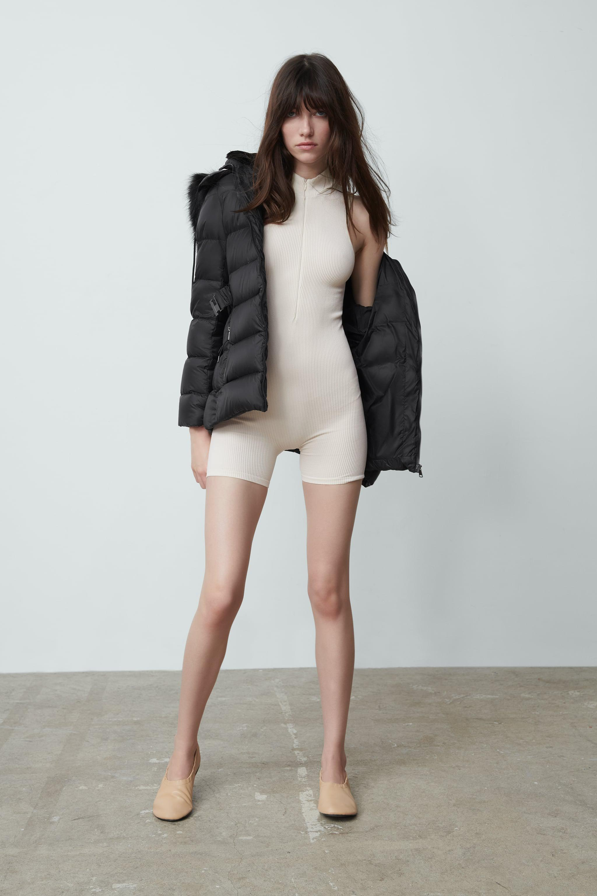 DOWN JACKET WITH FAUX FUR HOOD