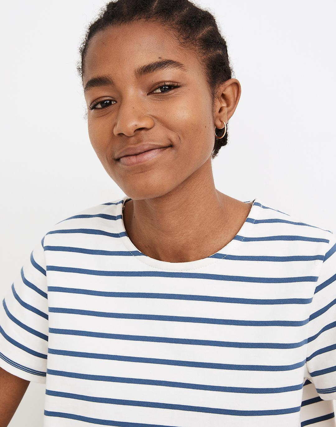 Luxe Boxy-Crop Tee in Atmore Stripe 1