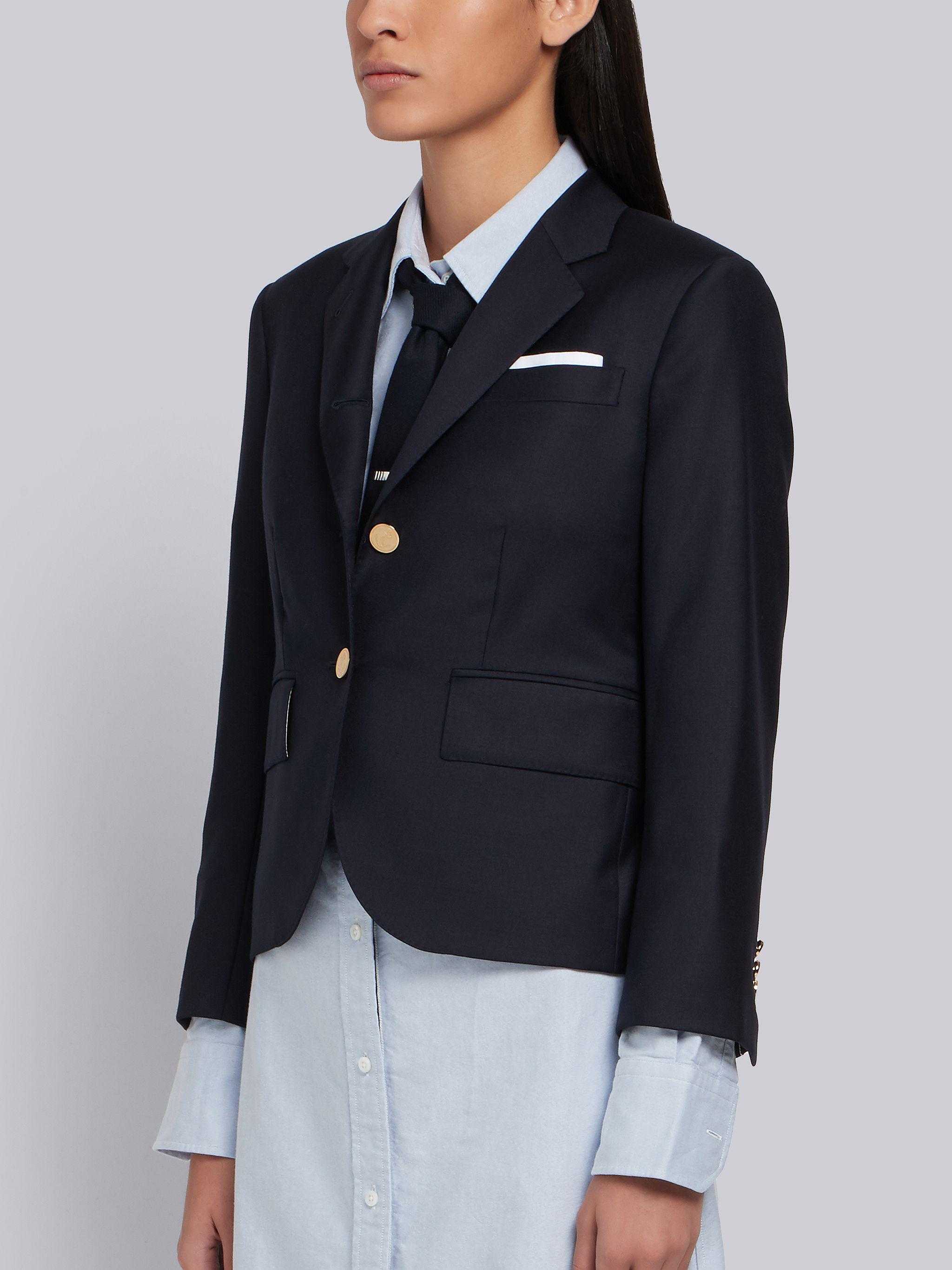 Navy Wool Twill Single Breasted High Armhole Sport Coat 1