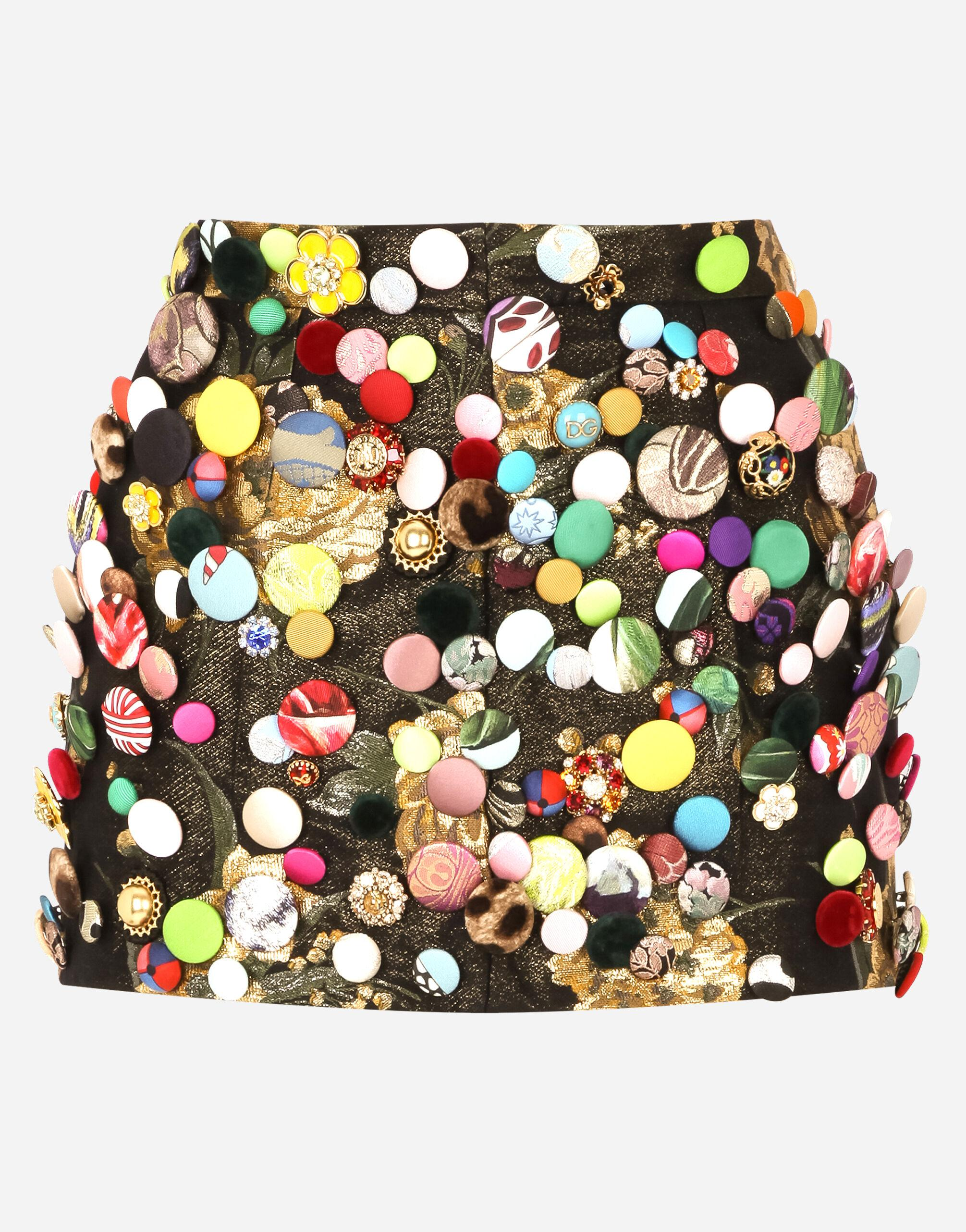 Jacquard miniskirt with all-over bejeweled buttons 5