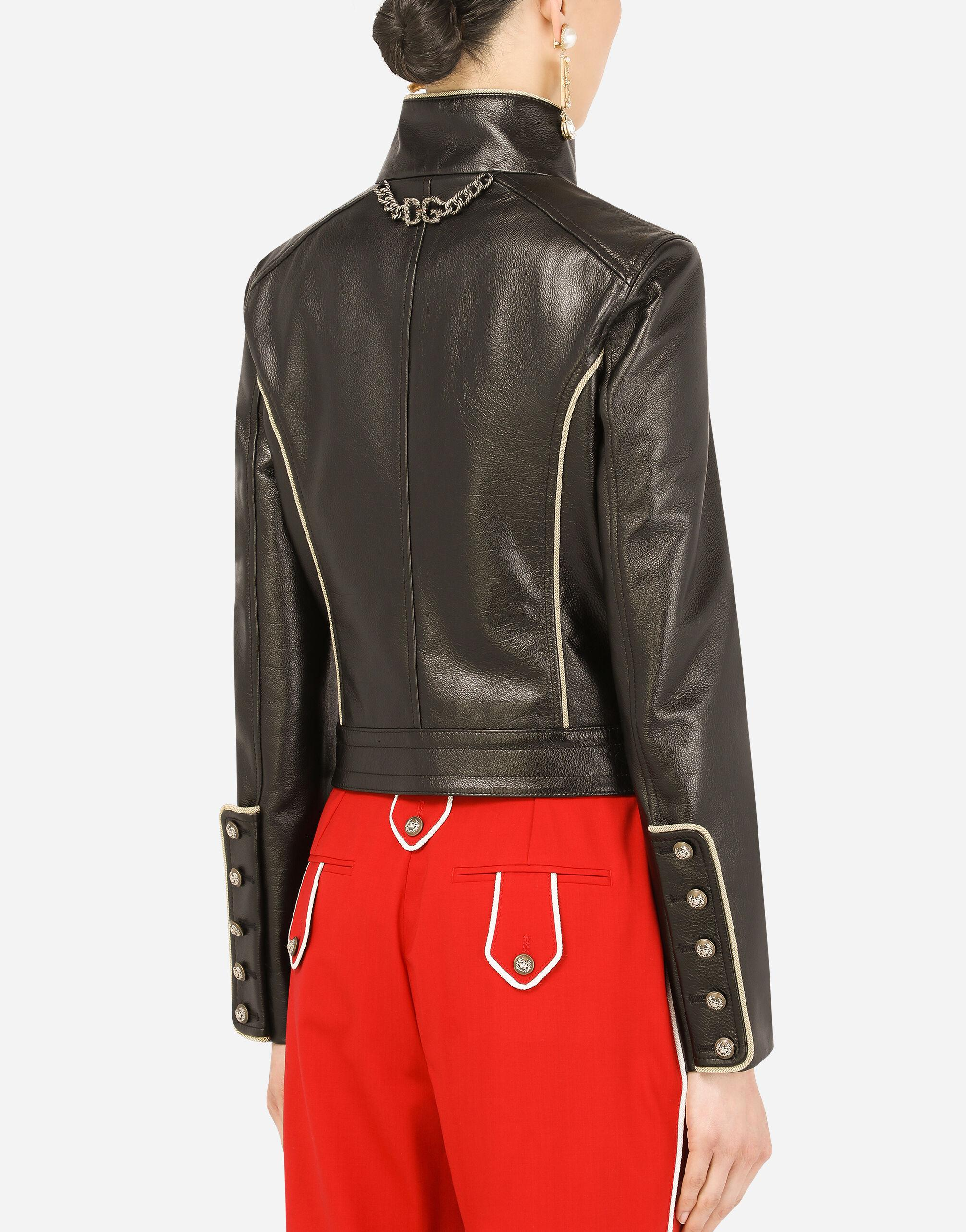 Leather biker jacket with heraldic buttons 3