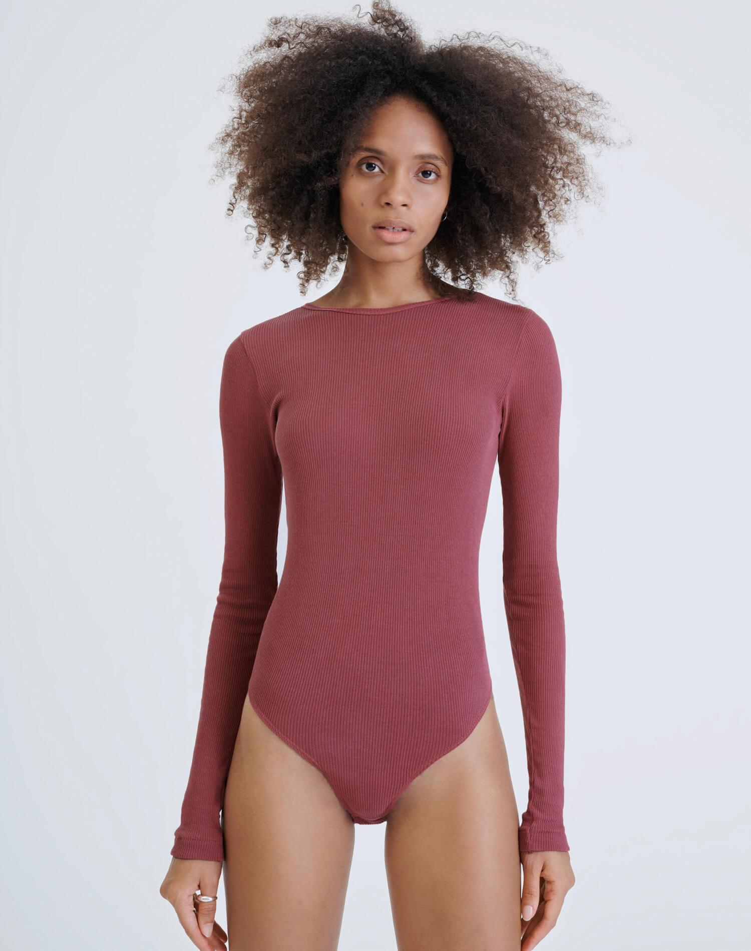 60s Ribbed Long Sleeve Bodysuit - Natural Berry 1