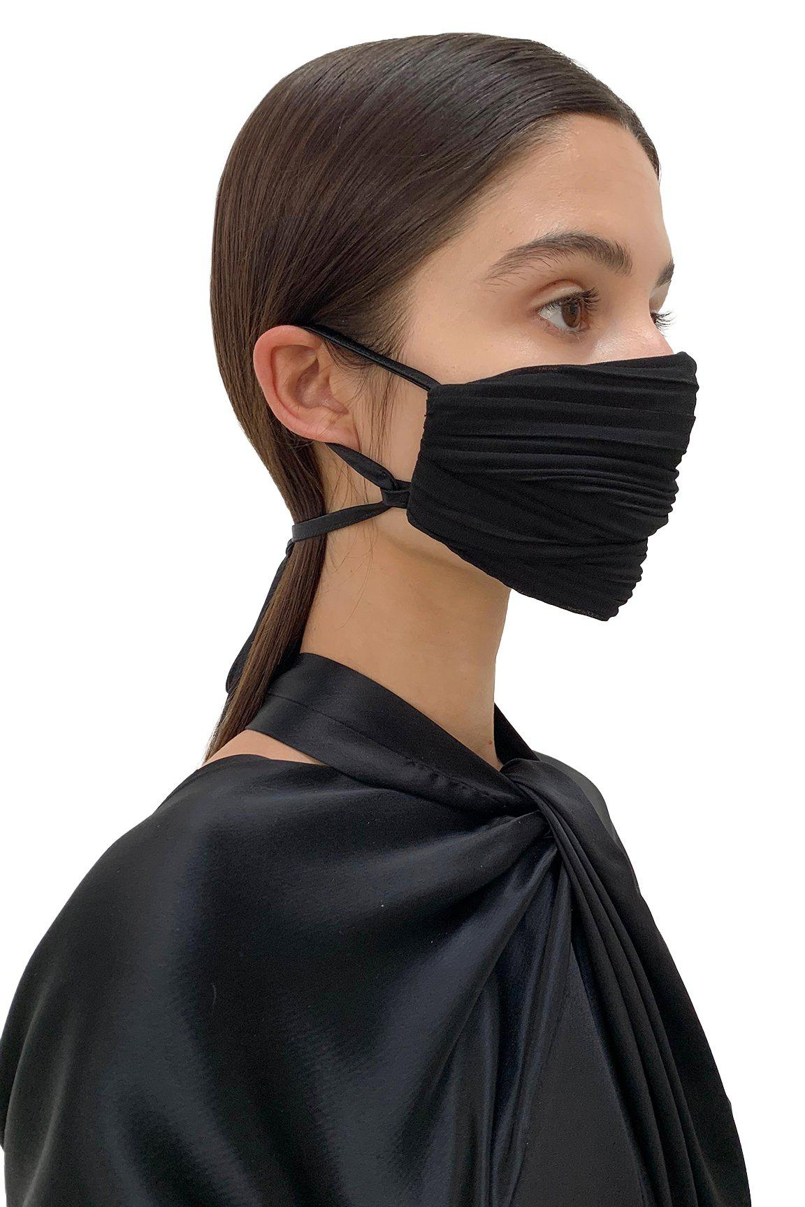 Black Pleated Face Mask 1