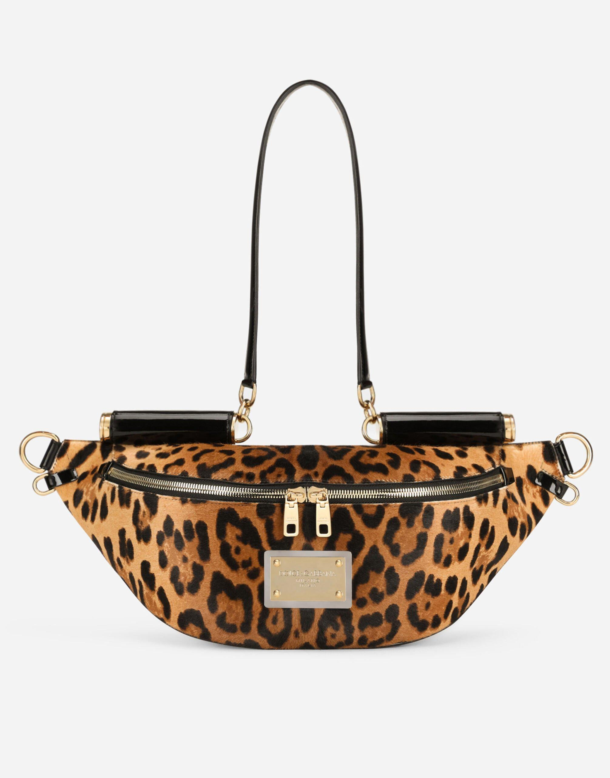 Small 90es Sicily belt bag in leopard-print pony hair with branded plate