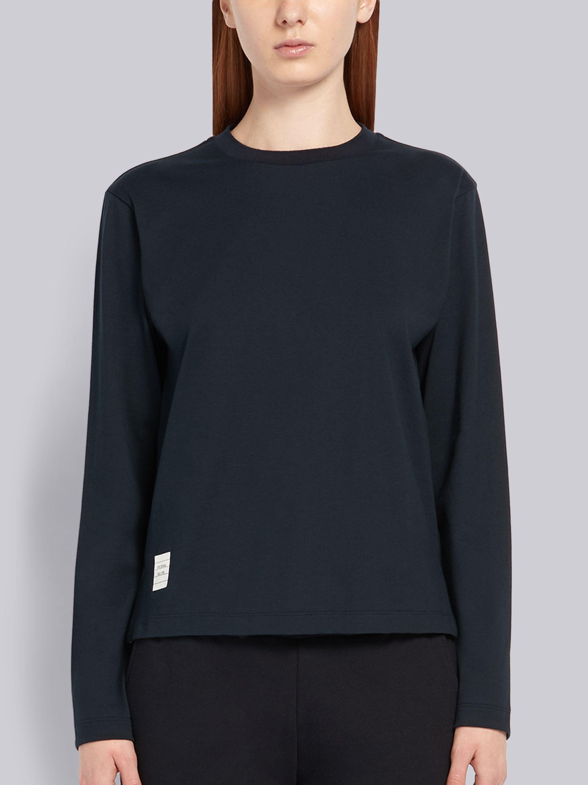 Navy Lightweight Jersey Relaxed Fit Logo Patch Long Sleeve Tee