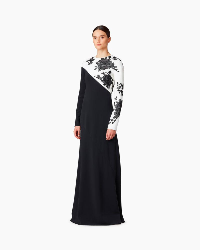 Bias Cut Embroidered Crepe Gown