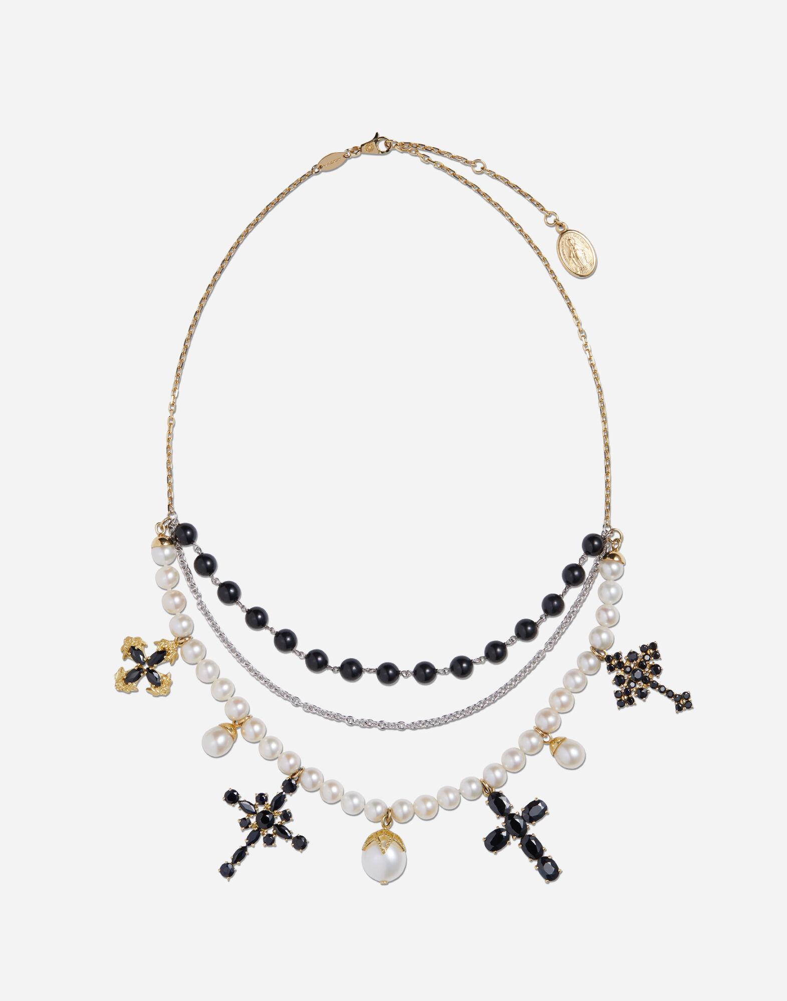Family necklace in yellow and white gold black sapphires