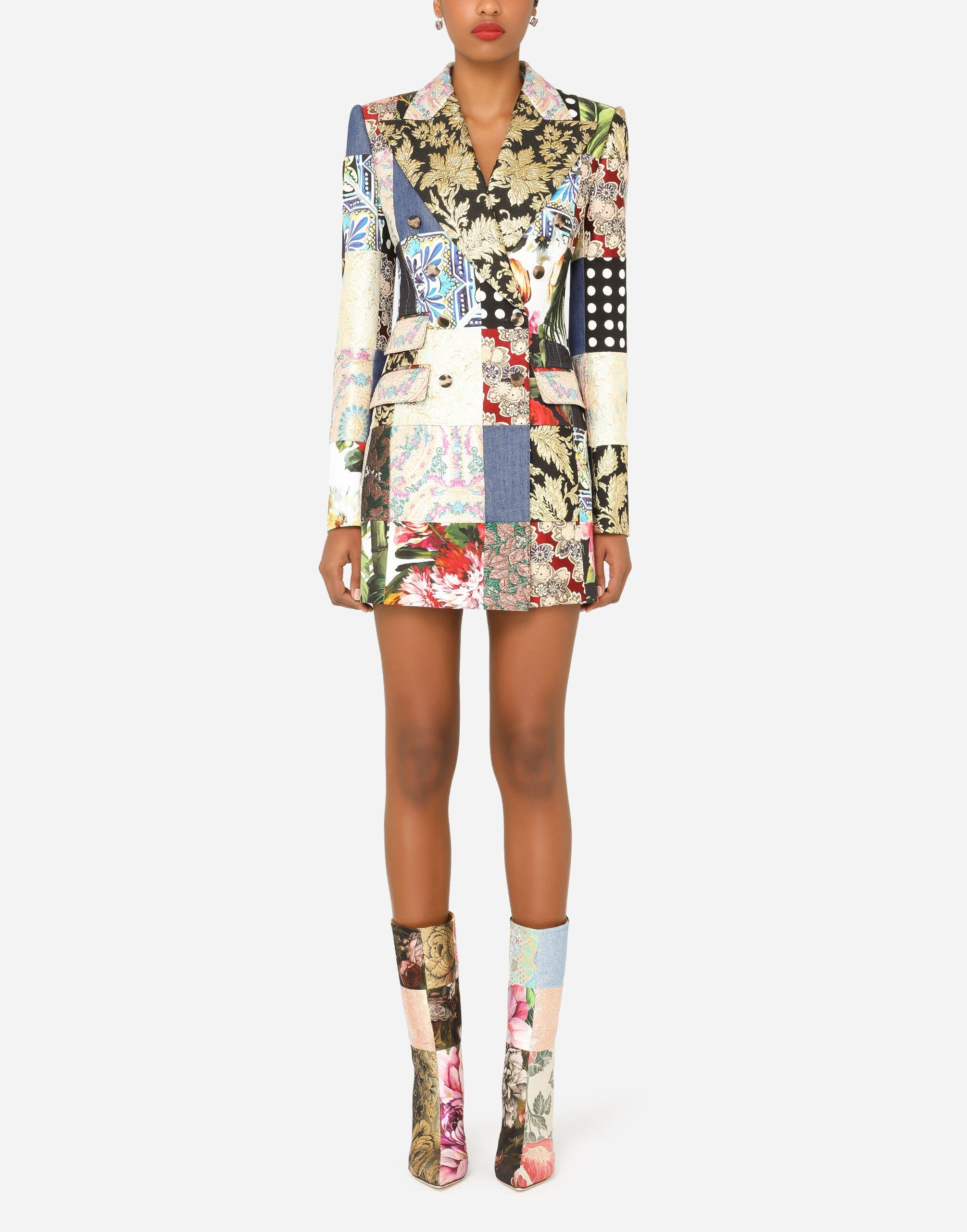 Double-breasted patchwork jacquard blazer