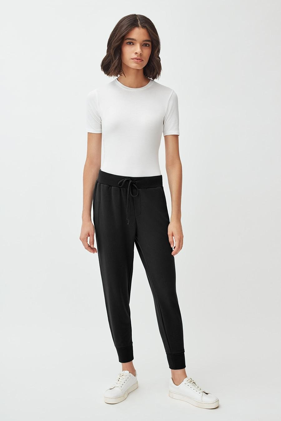 Women's French Terry Tapered Lounge Pant in Black | Size: 1