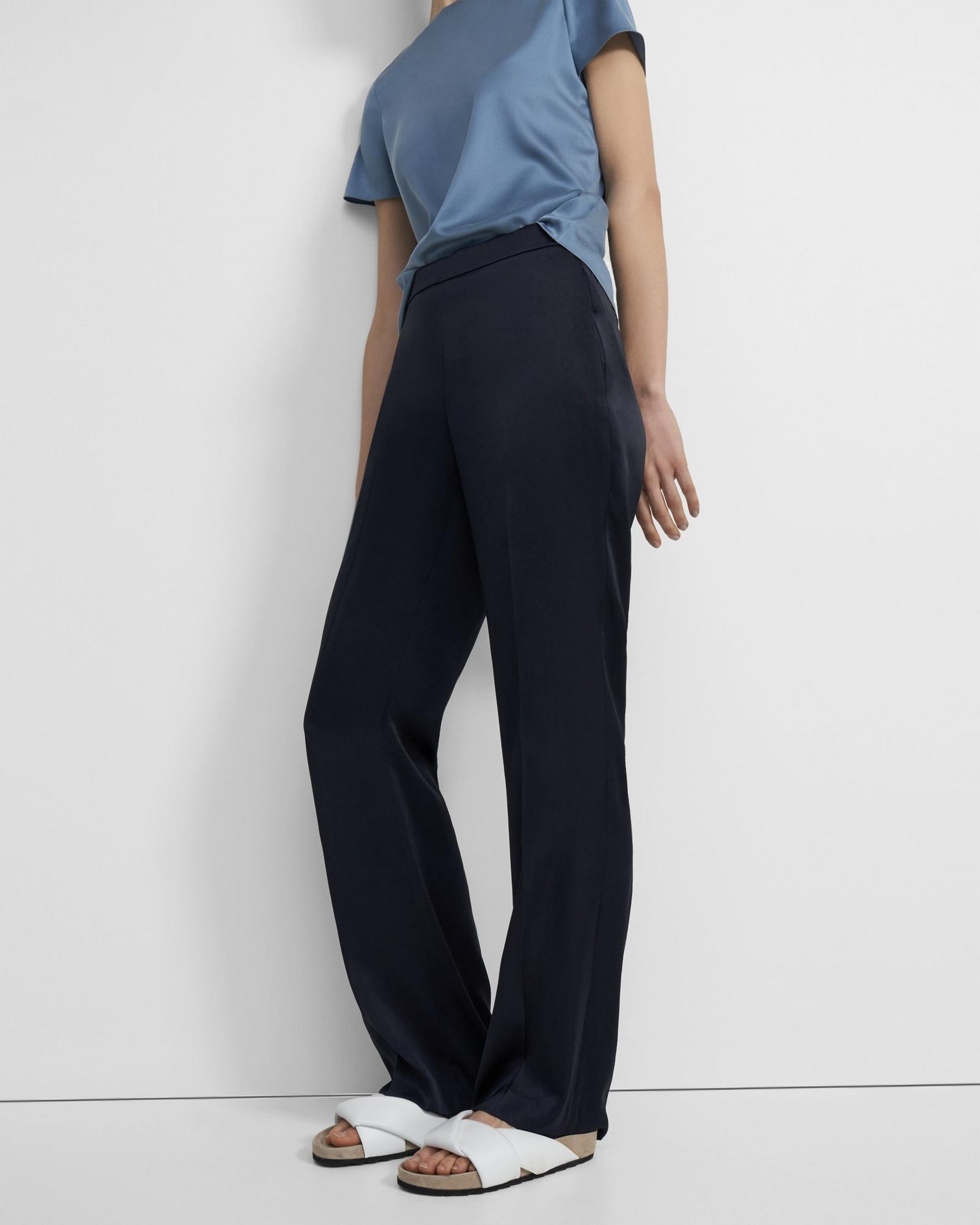 Straight-Leg Pull On Pant Pant in Crushed Satin 3