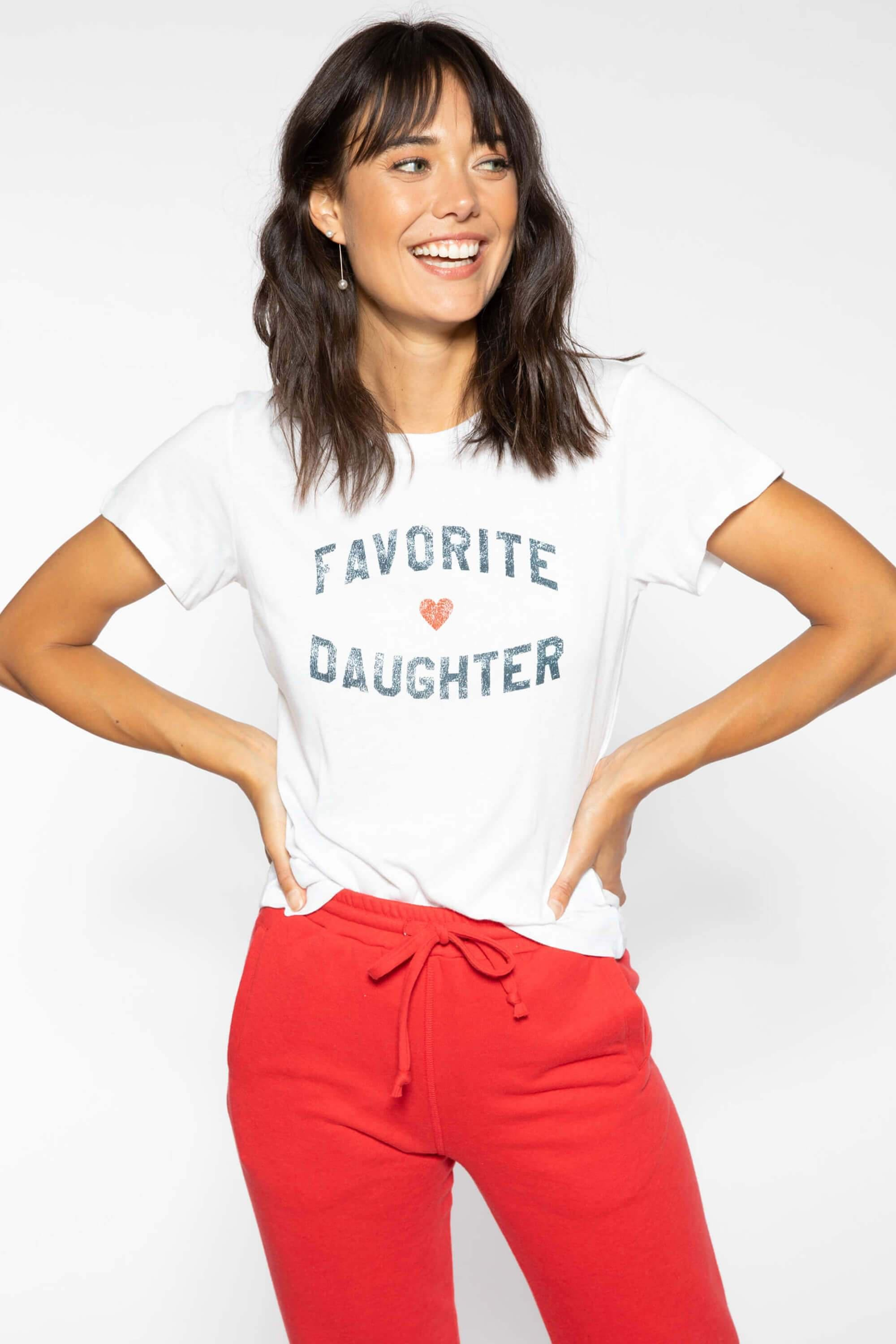 FAVORITE DAUGHTER FITTED VANESSA TEE - WHITE