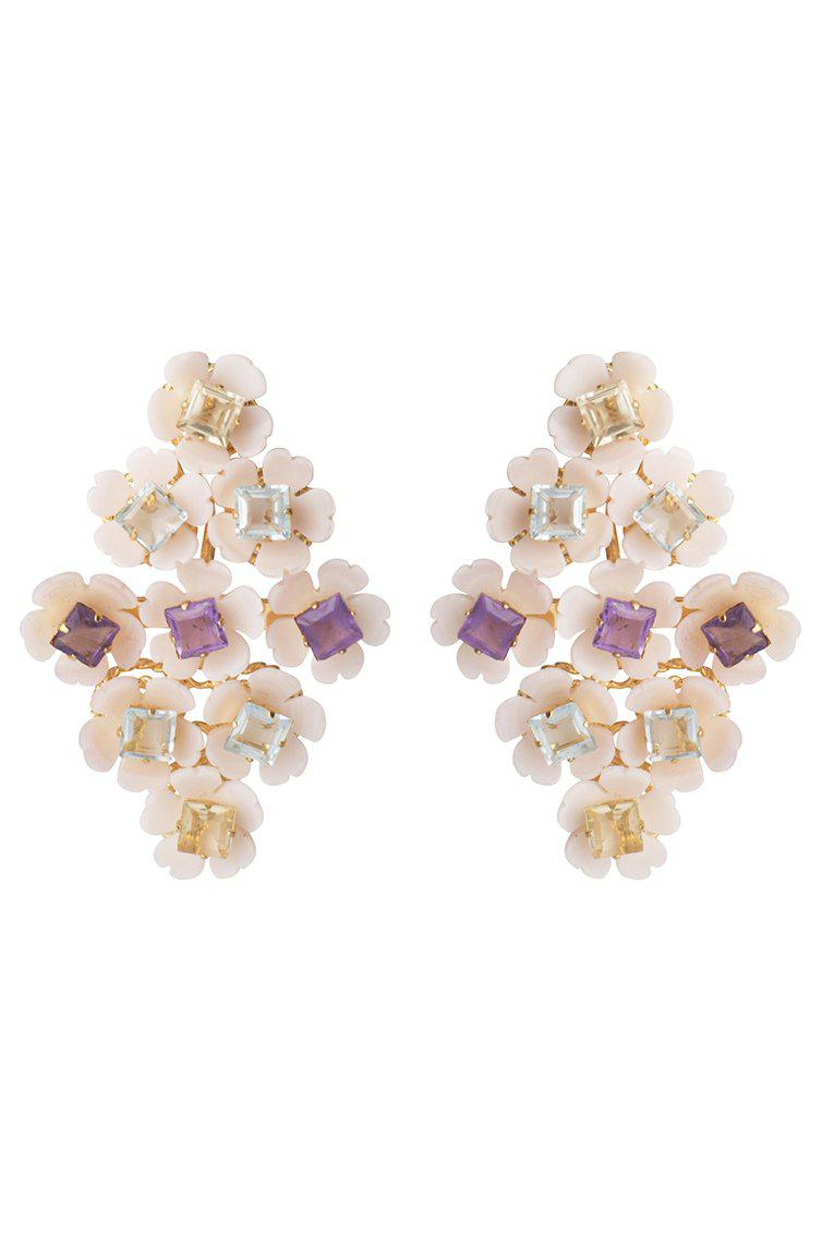Pink Millefleur Earring with Amethyst and Lemon and Blue Quartz