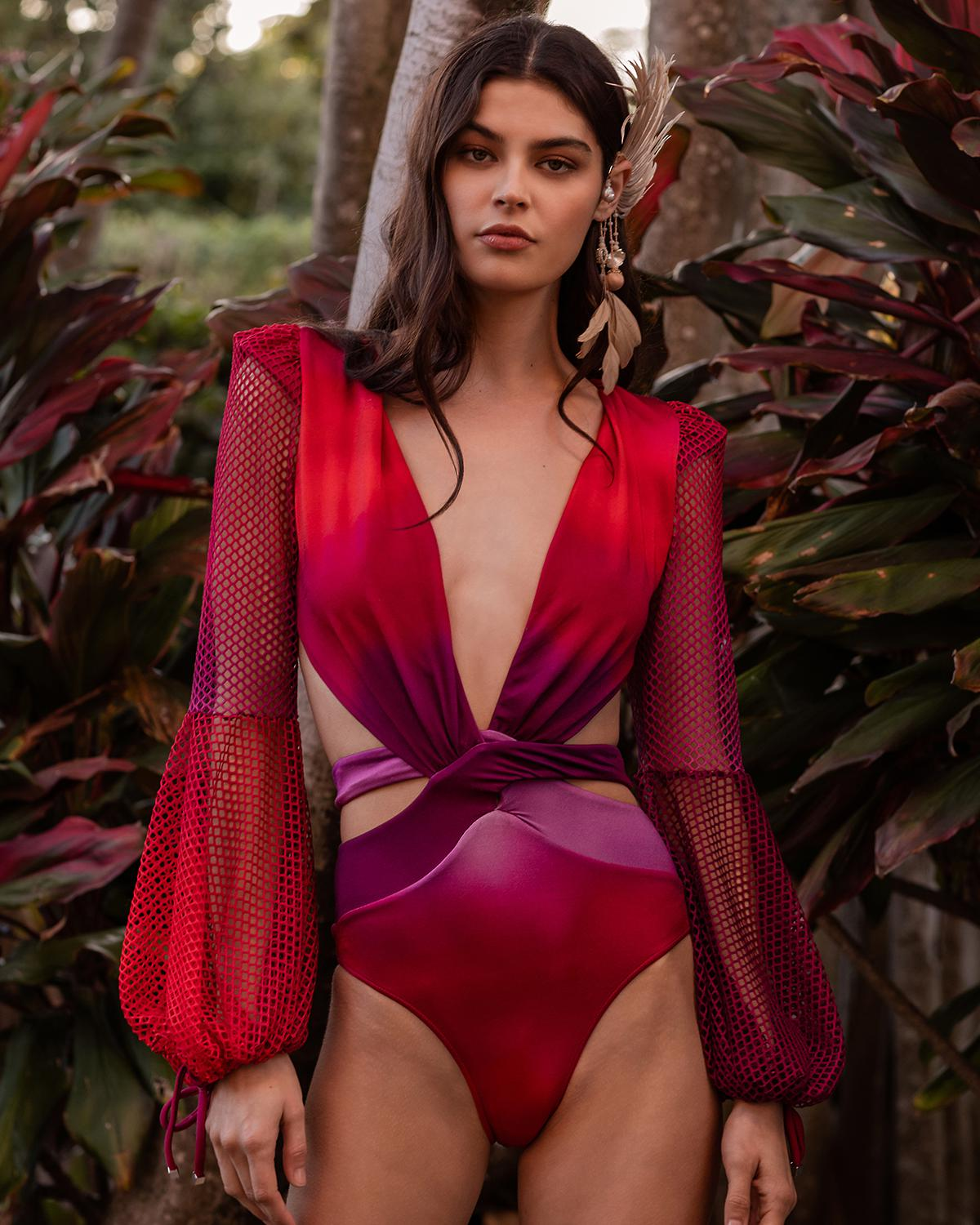 Ombre Netted Sleeve Swimsuit
