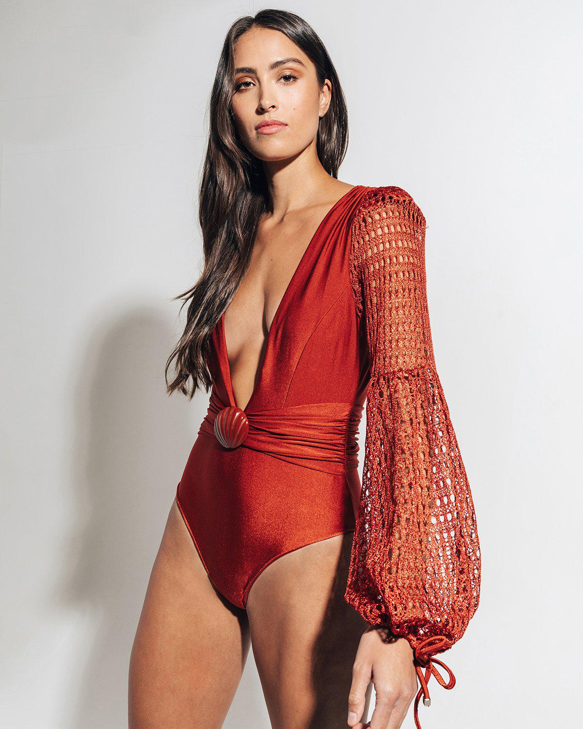 NETTED SLEEVE SWIMSUIT 3