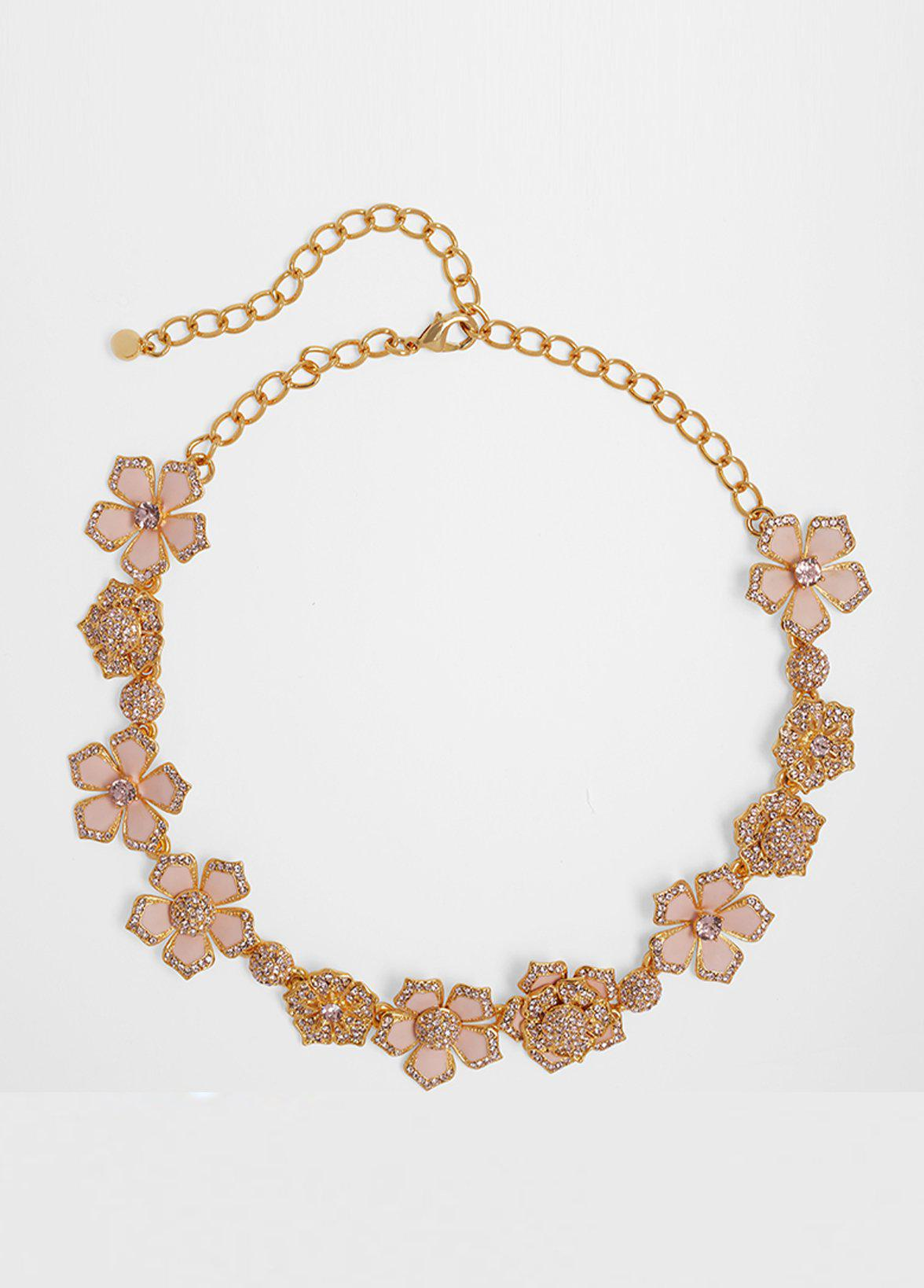 PAINTED AND PAVE FLOWER NECKLACE