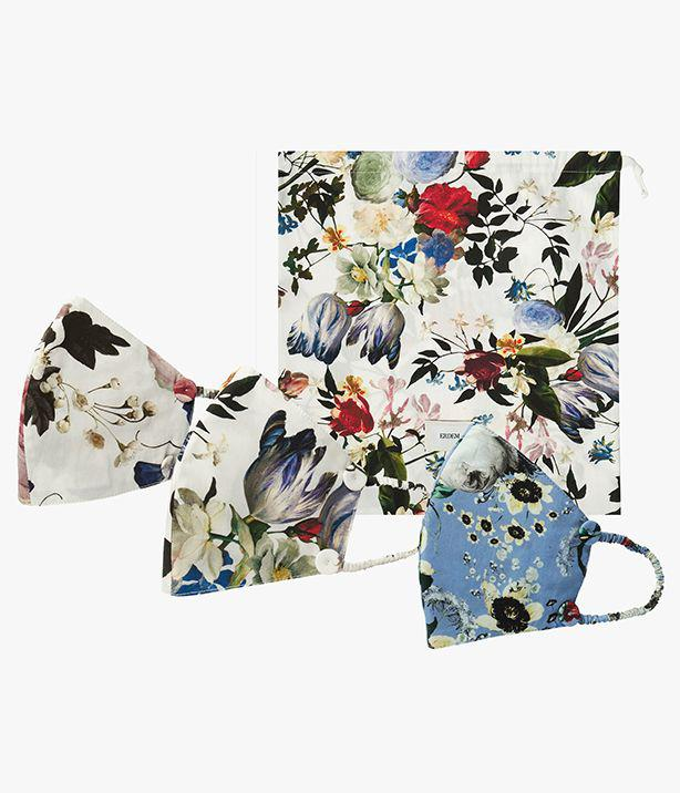 Multi Face Mask and Pouch Set Edith White